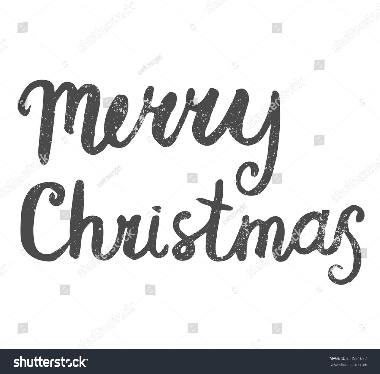 Merry Christmas Lettering Handwritten Words Greeting Stock Vector