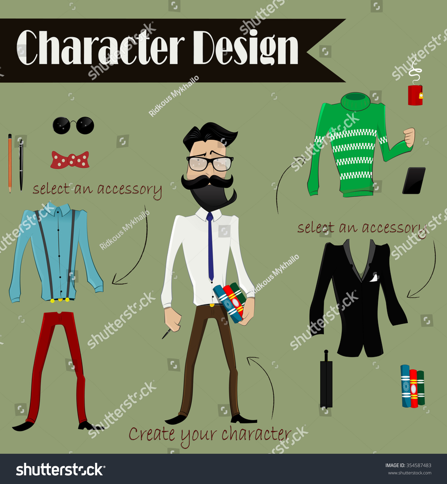 Character Design Elements : Hipster cartoon character boy design stock