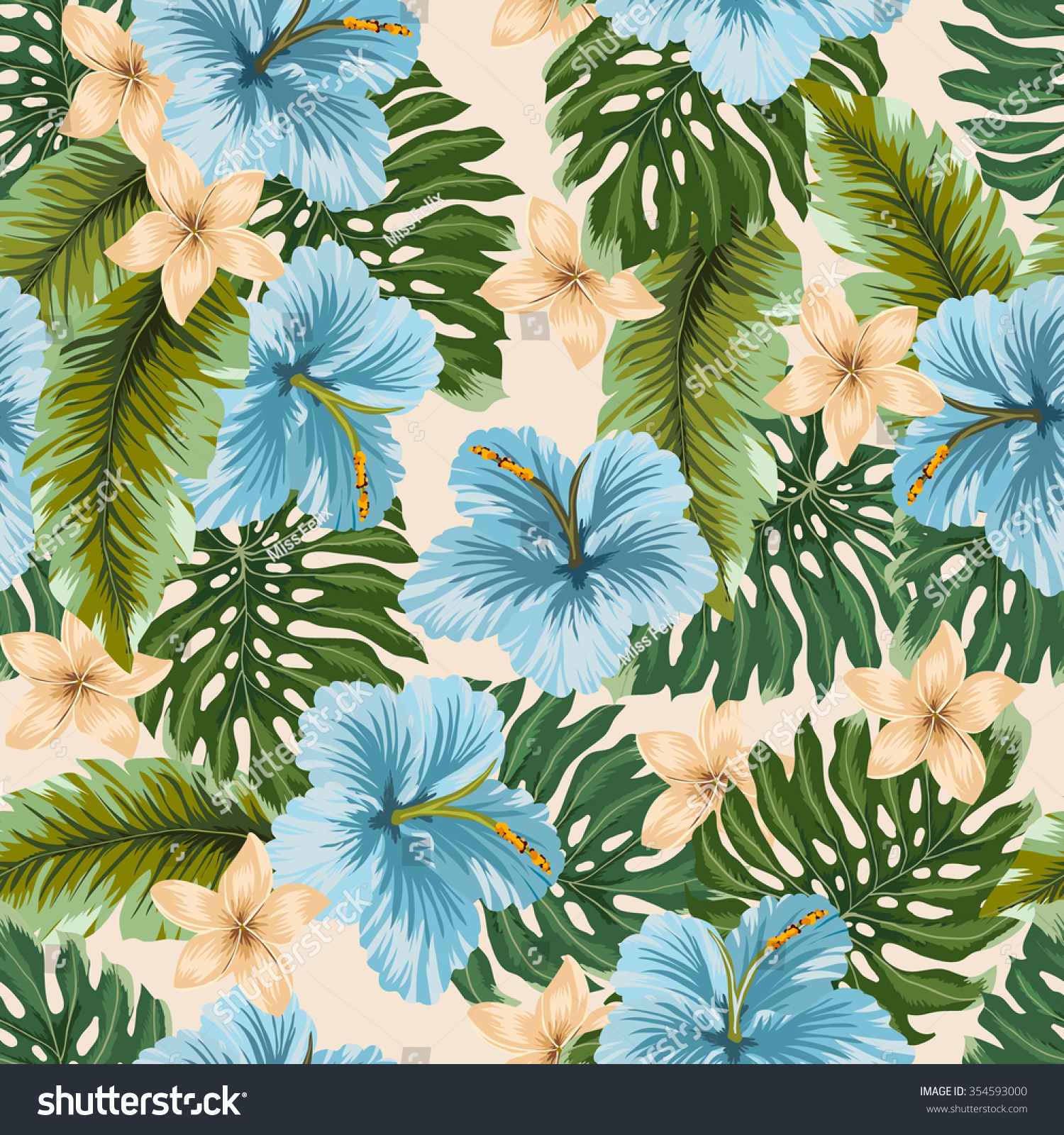 Vector Seamless Blue Tropical Flowers Leafs Stock Vector Royalty