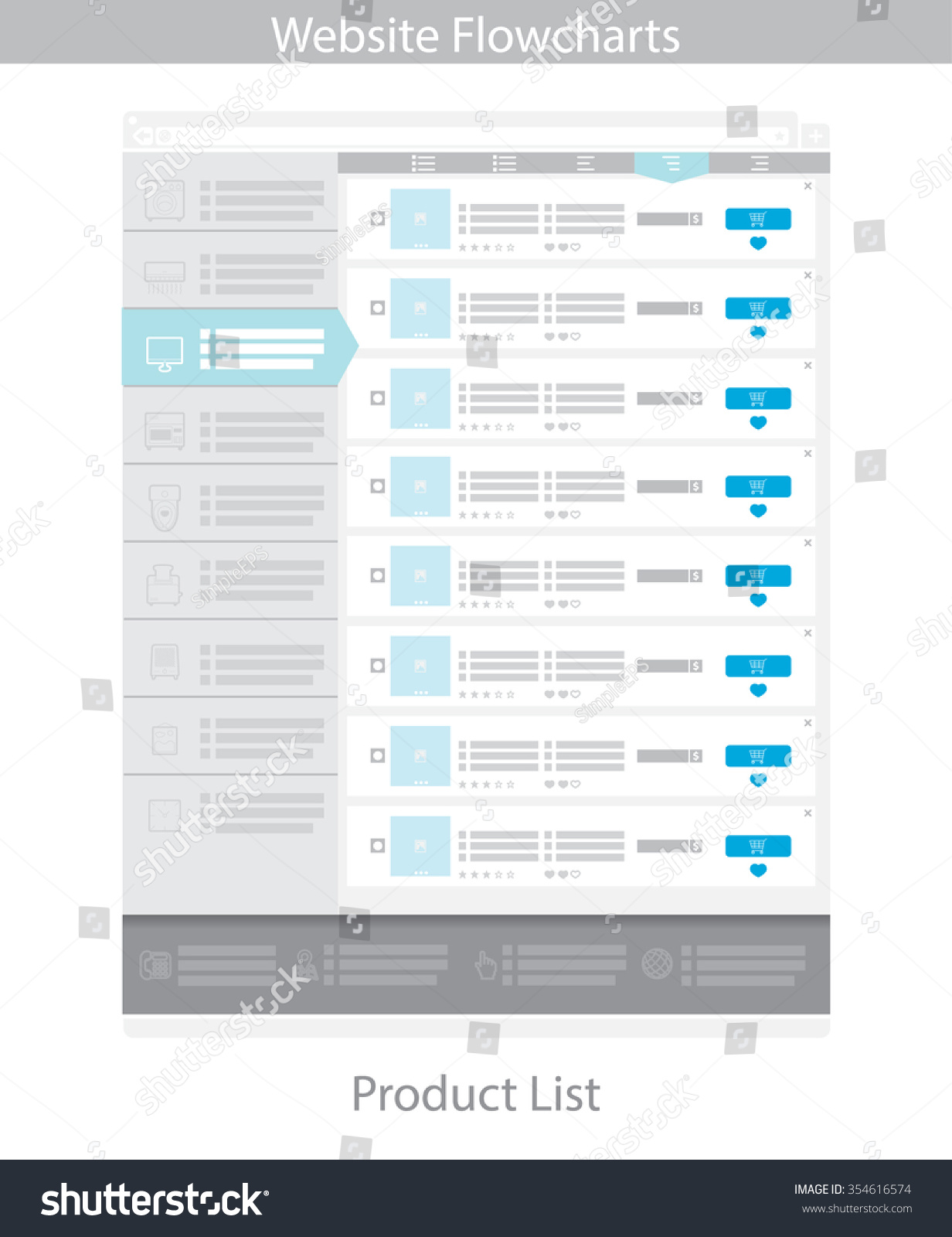 Web template simple vector product list stock vector 354616574 web template simple vector product list pronofoot35fo Image collections