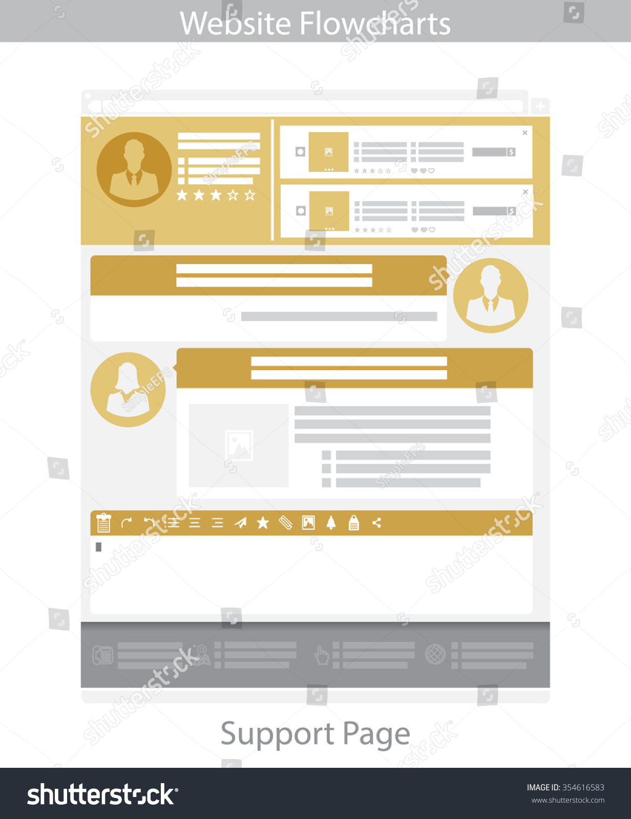 Gold Web Template Simple Vector Support Stock Vector 354616583 ...