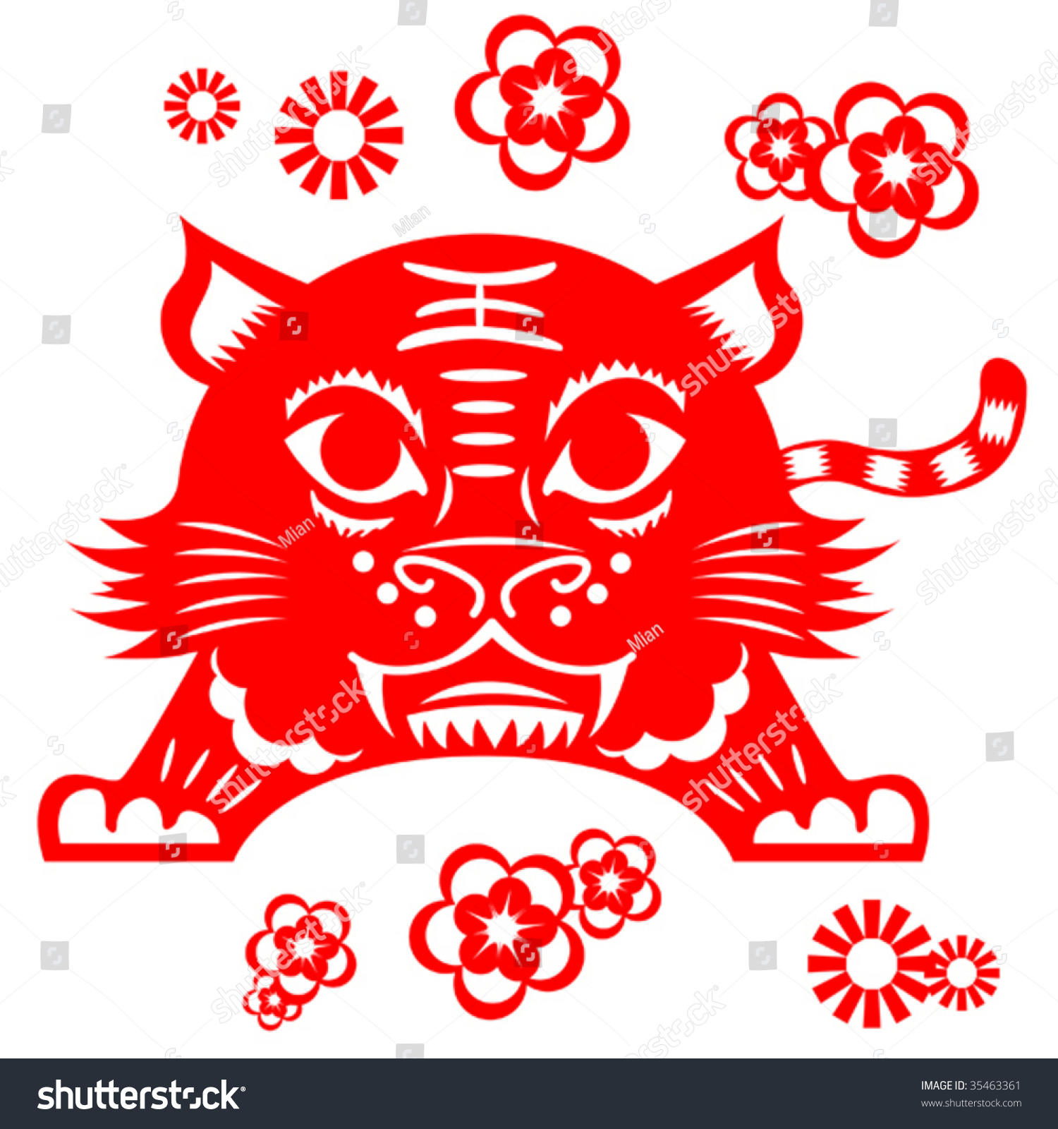 Chinese tiger vector