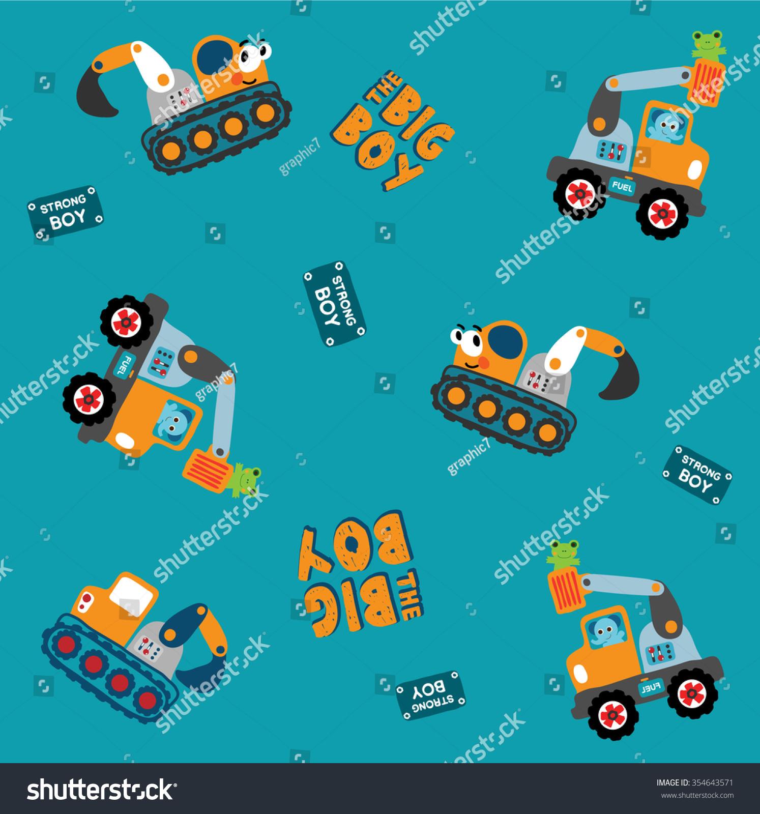 seamless vector illustration construction machines excavator stock