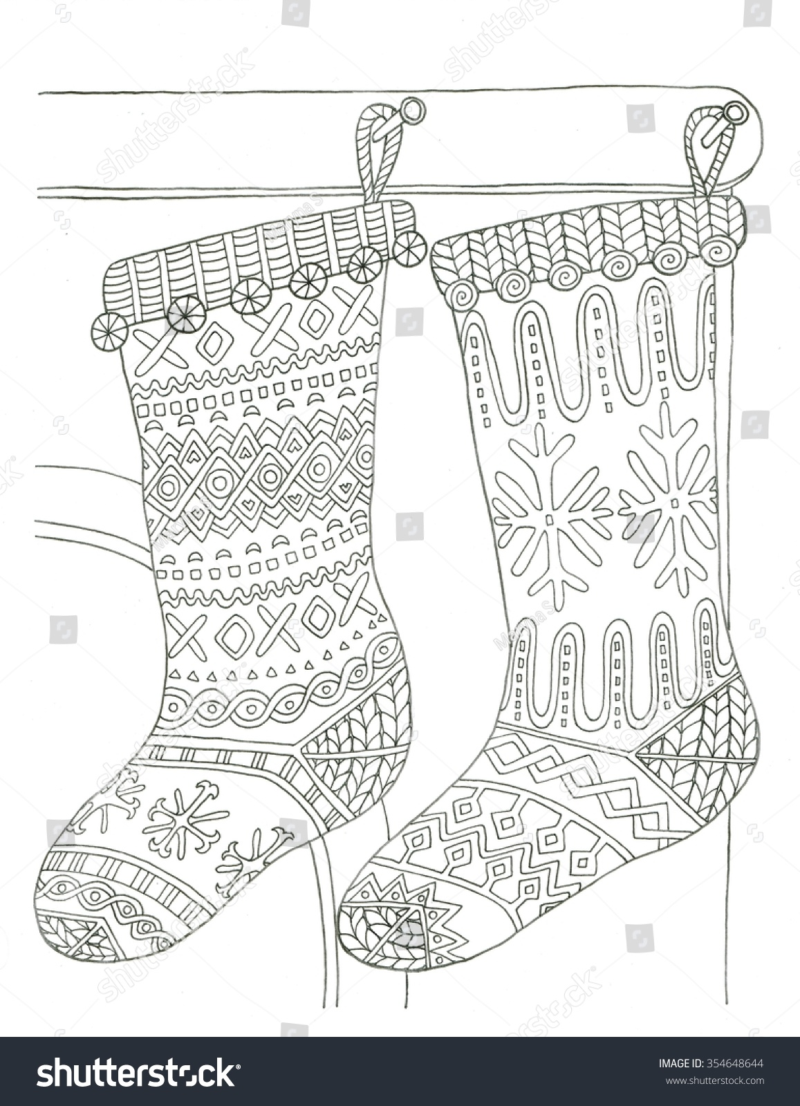 Christmas Stockings Coloring Page Stock Illustration