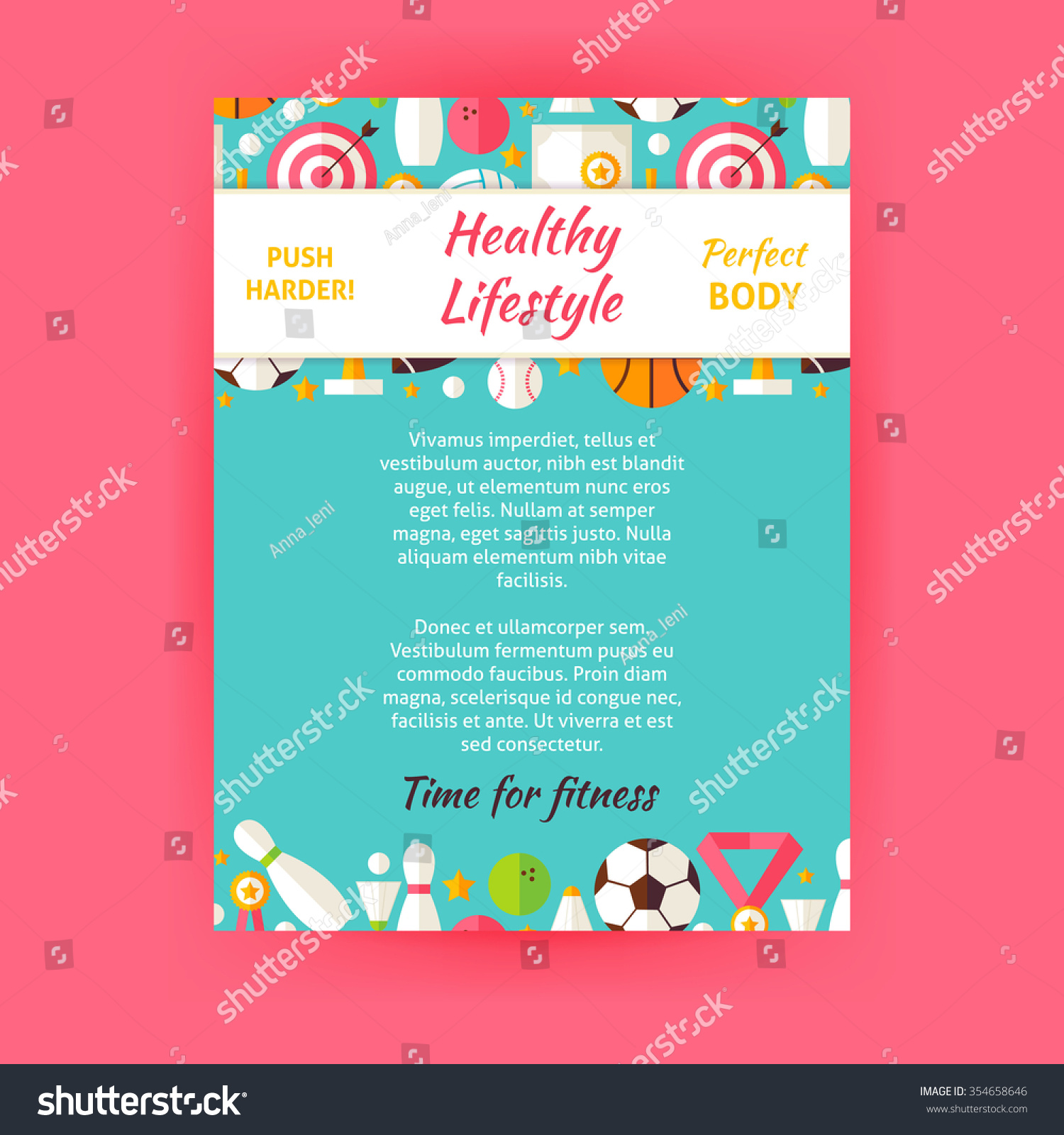 healthy lifestyle sport invitation template flyer stock vector