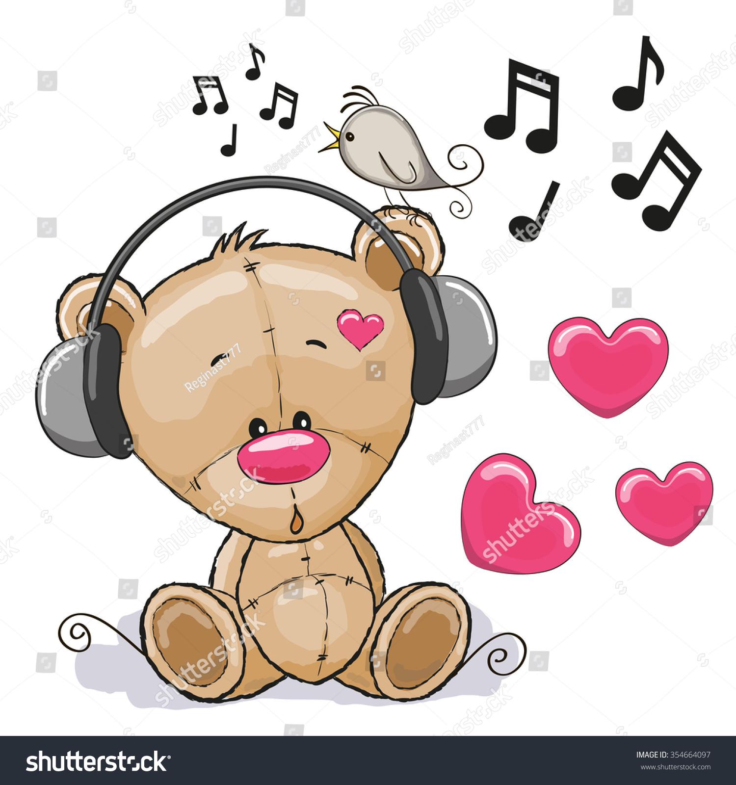 Cute Cartoon Teddy Bear Headphones Stock Illustration ...