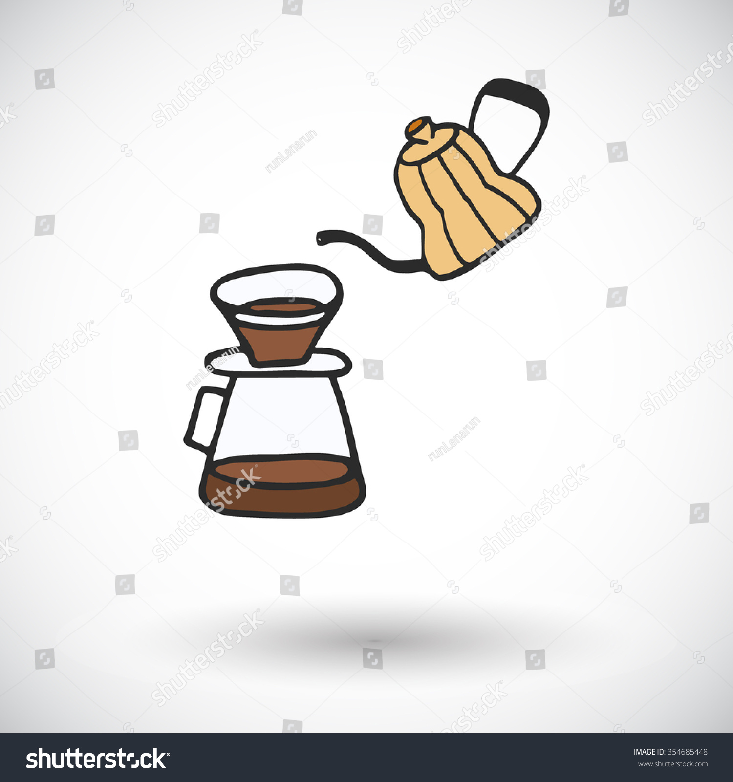 Pour Over Coffee Maker Handdrawn Coffee Stock Vector HD (Royalty ...