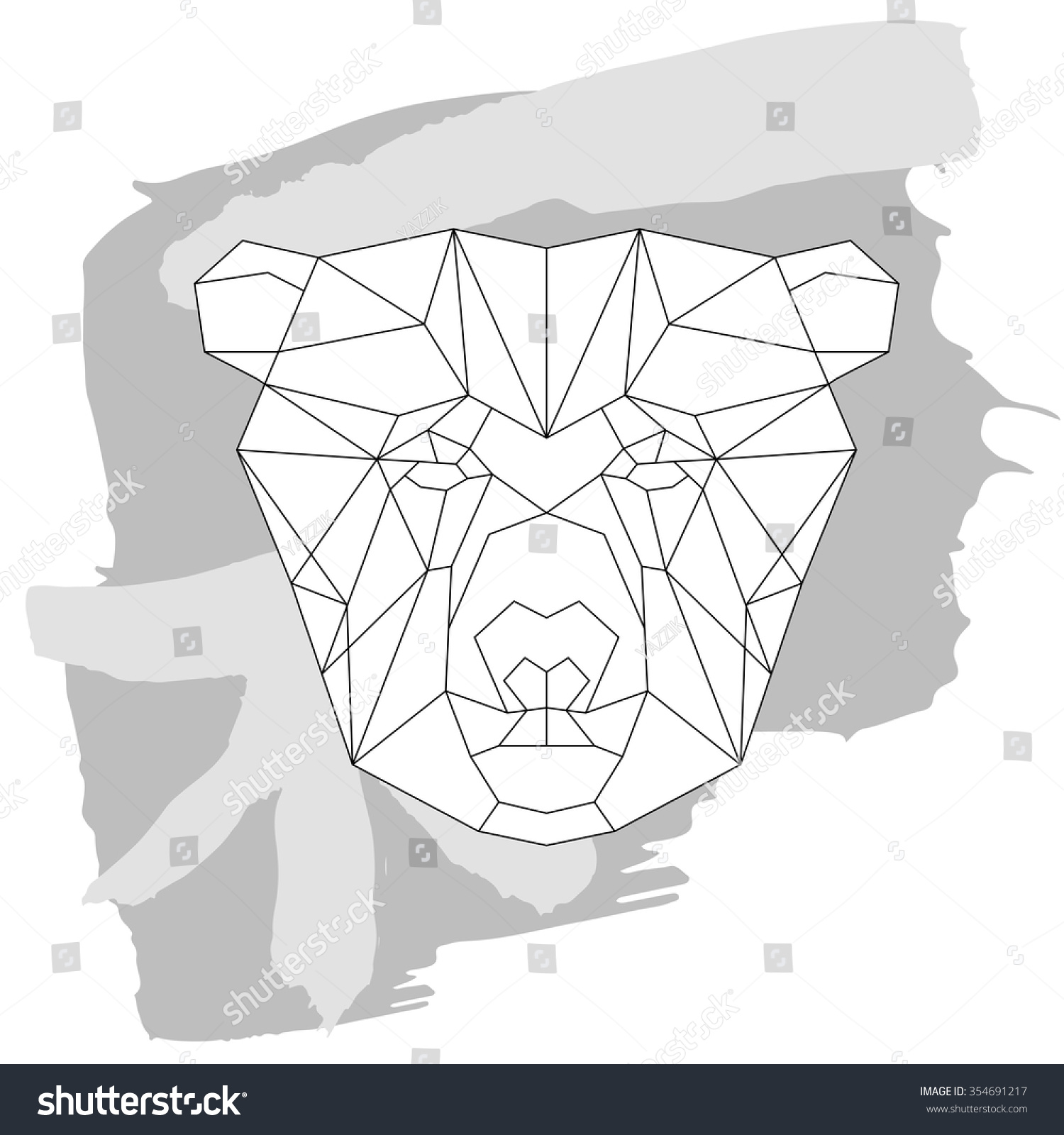 Tiger head triangular icon geometric trendy stock vector image - Bear Head Triangular Icon Geometric Pattern Trendy Line Design Vector Illustration Ready For Tattoo