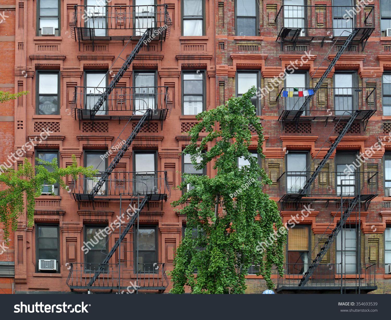Apartment Building Fire Escape Ladder manhattan upper east side apartment building stock photo 354693539