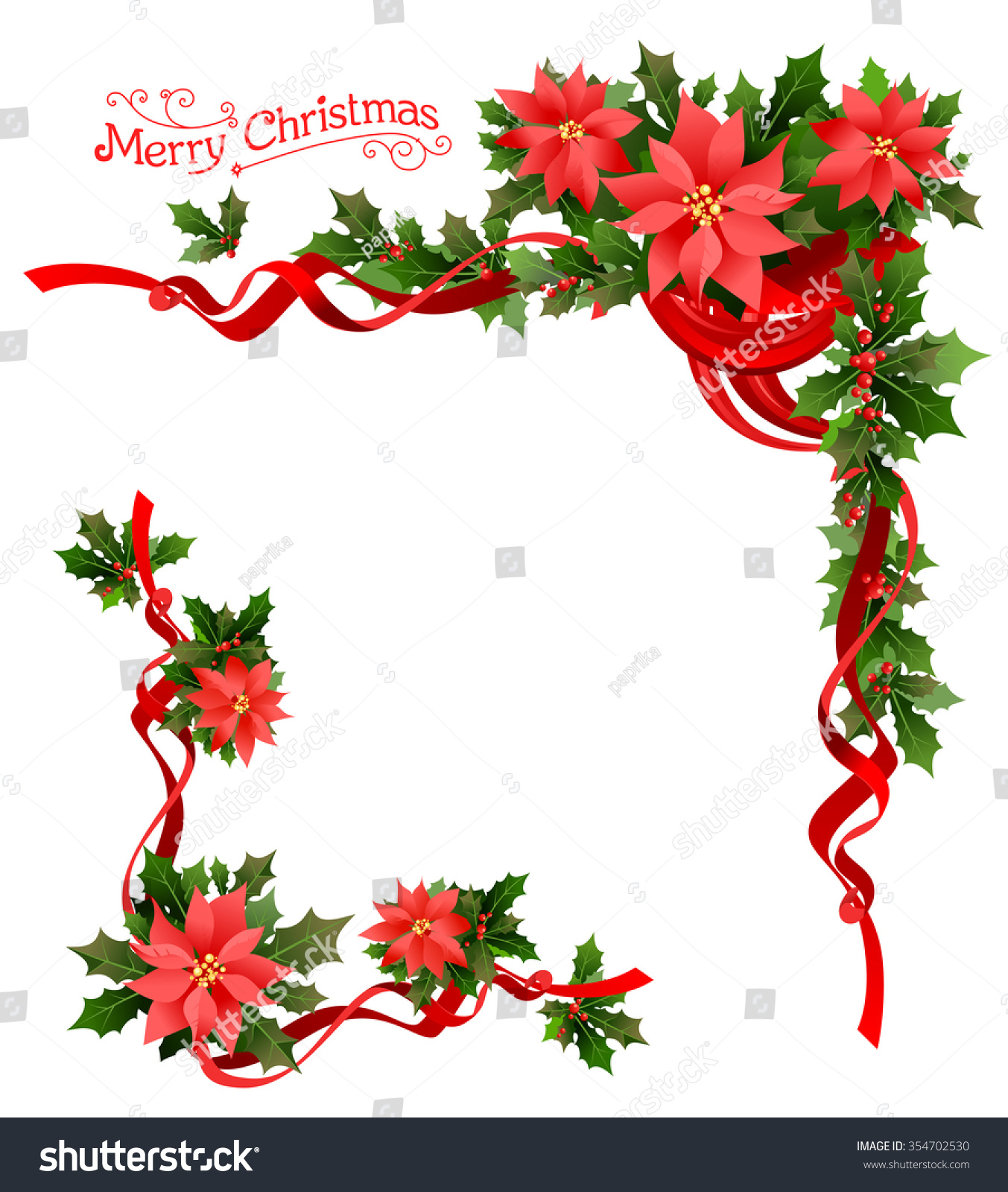 Christmas poinsettia corner holiday elements design stock for 5ft poinsettia garland christmas decoration