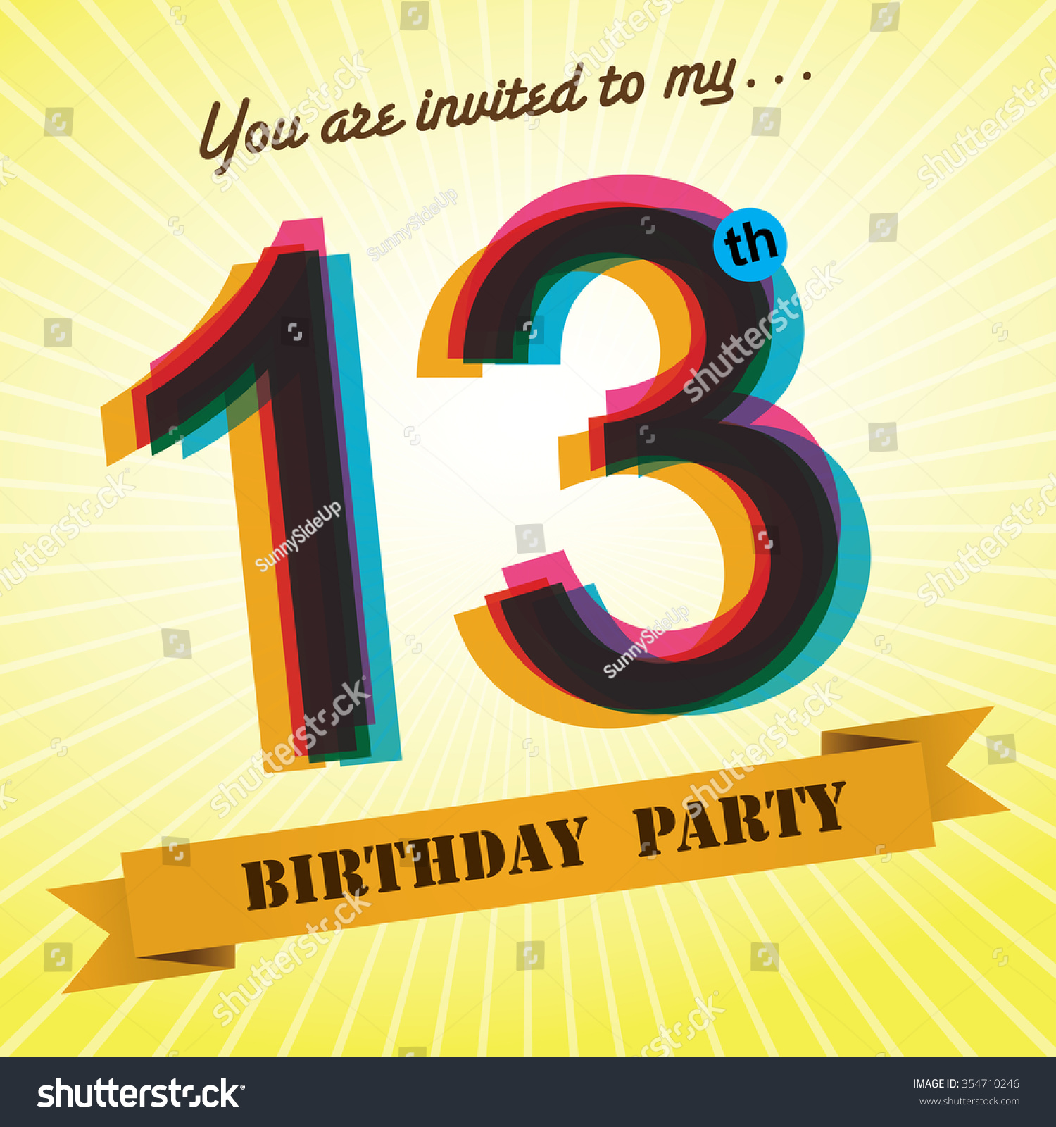 13th Birthday Party Invite Template Design Stock Vector 354710246