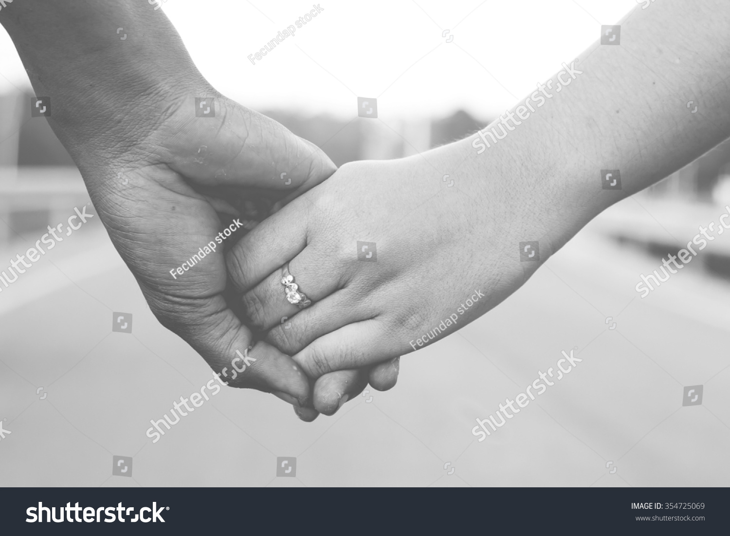 Couple hands with love feeling in black and white tone