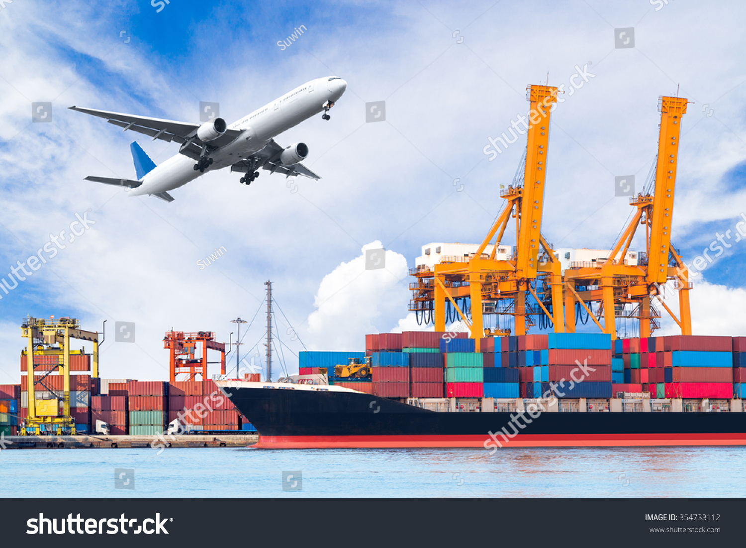 Container Cargo Freight Ship Working Crane Stock Photo ...