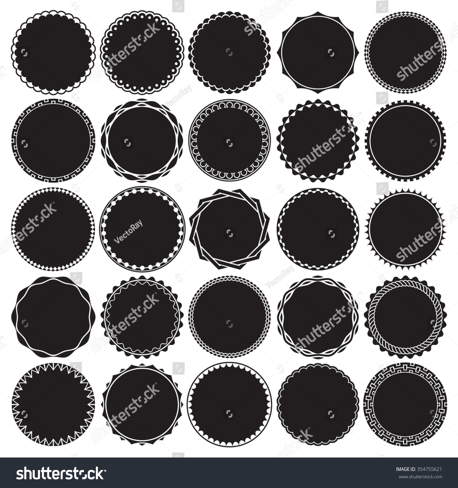 Stock Vector Collection Of Round Decorative Border Frames With Solid
