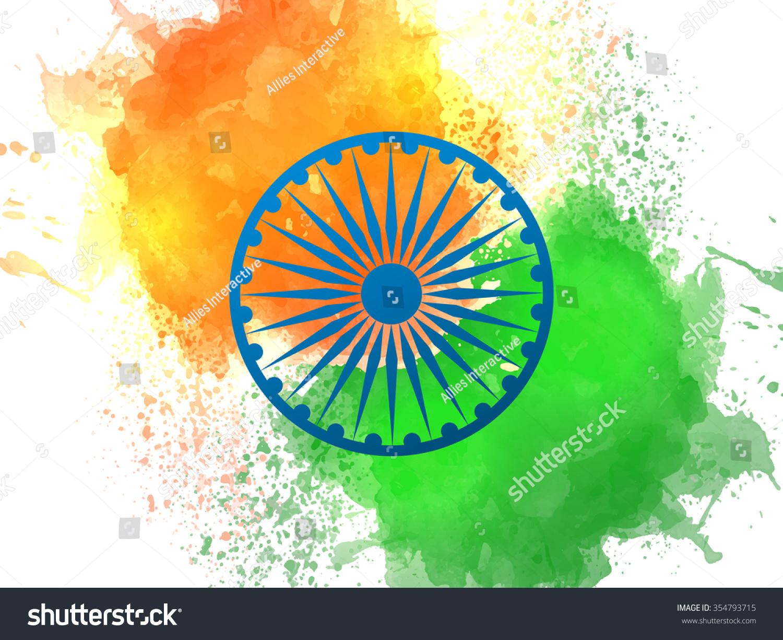 blue ashoka wheel on national flag stock vector 354793715