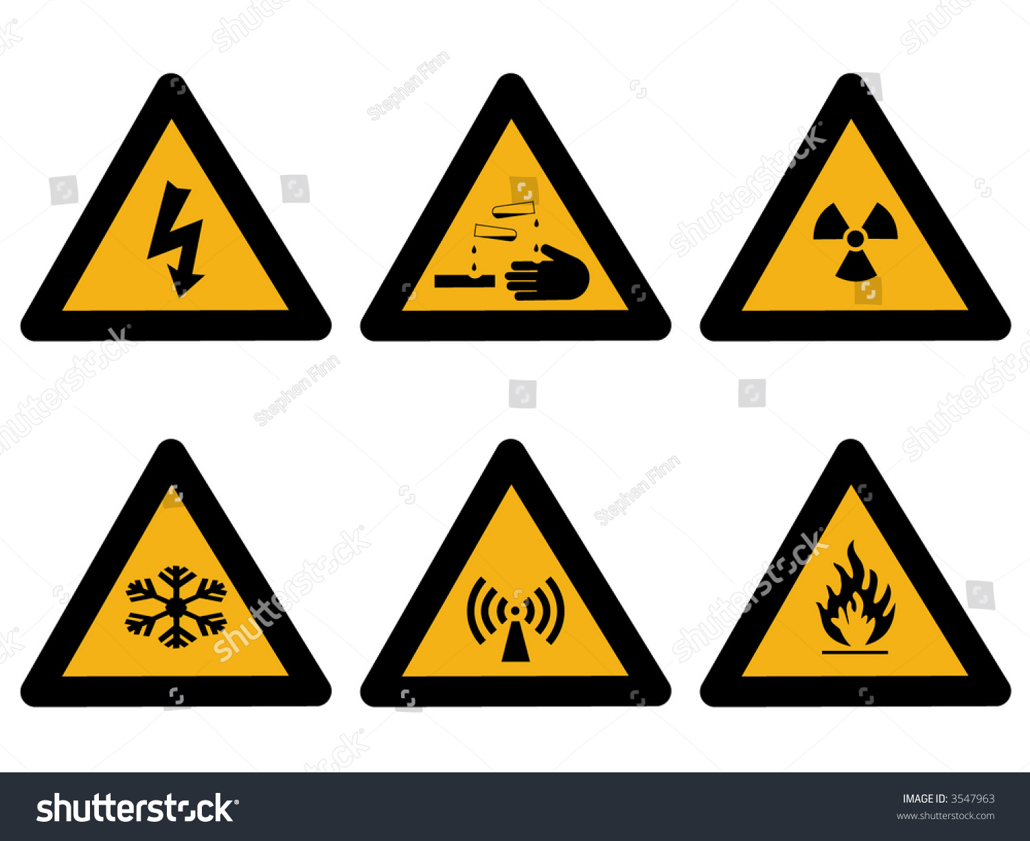 industrial hazard symbols extreme cold flammable stock