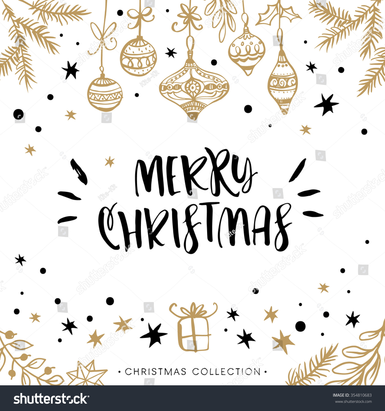 merry christmas holiday greeting card with calligraphy hand drawn design elements handwritten modern