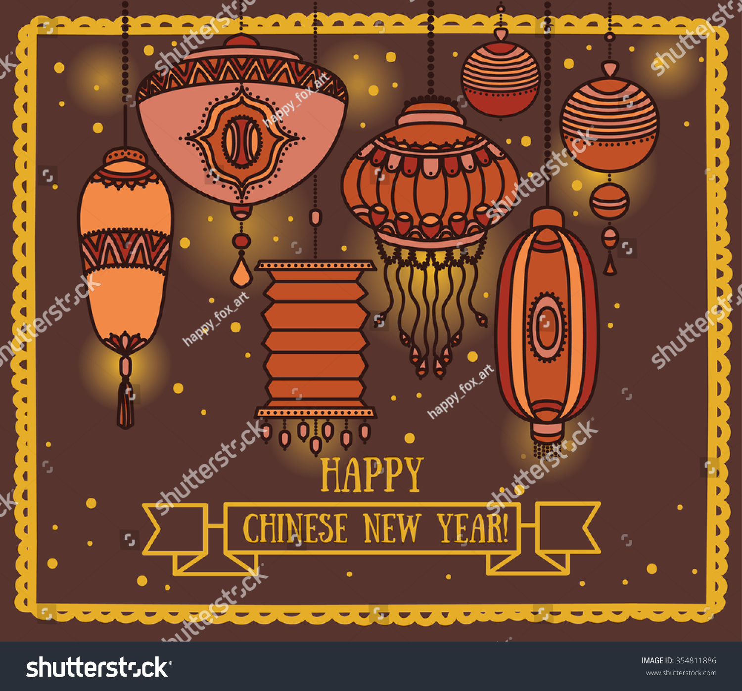 Greeting Card Chinese New Year Lantern Stock Vector Royalty Free