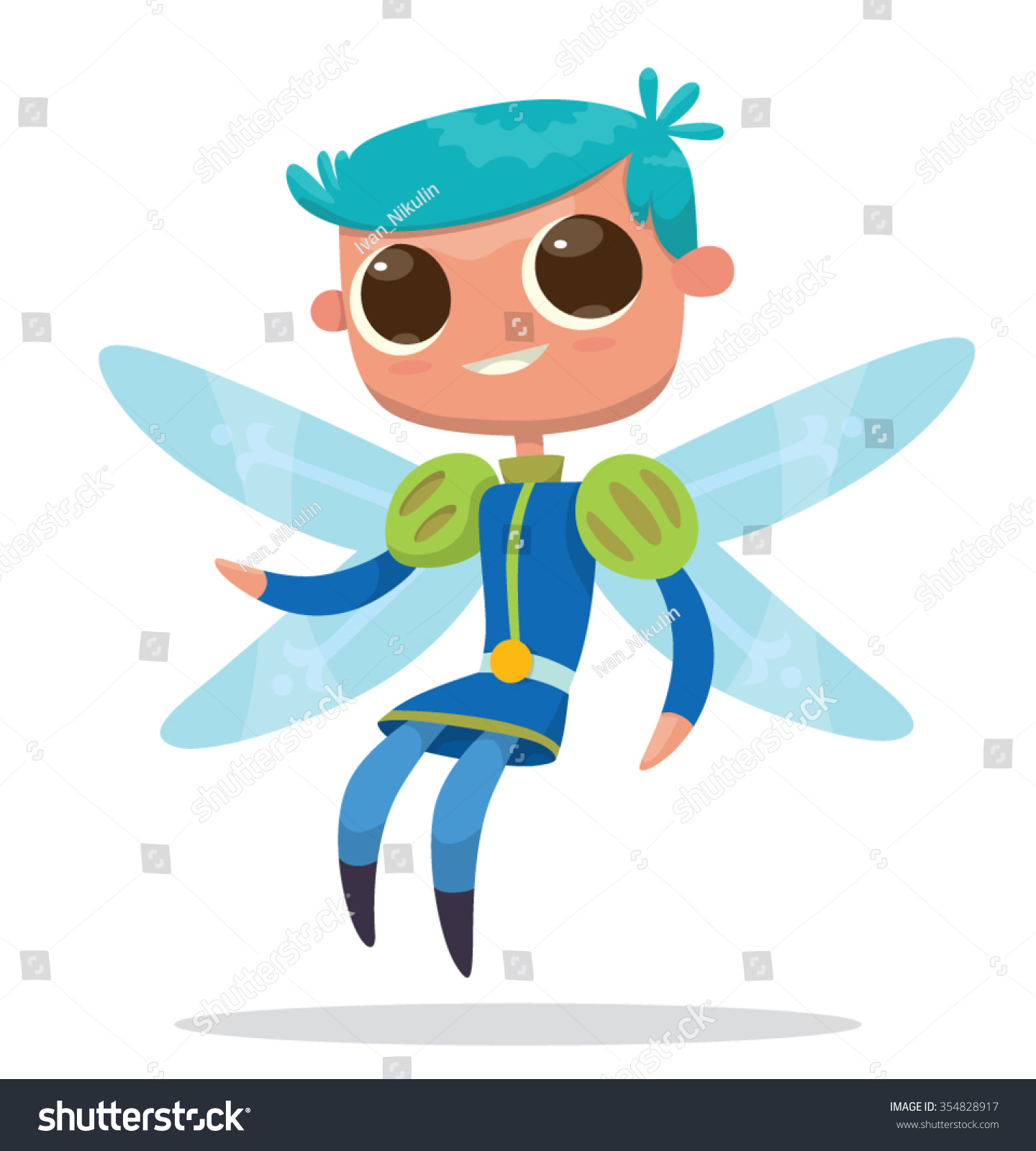 Image Cute Cartoon Male Fairy Big Stock Vector Royalty Free