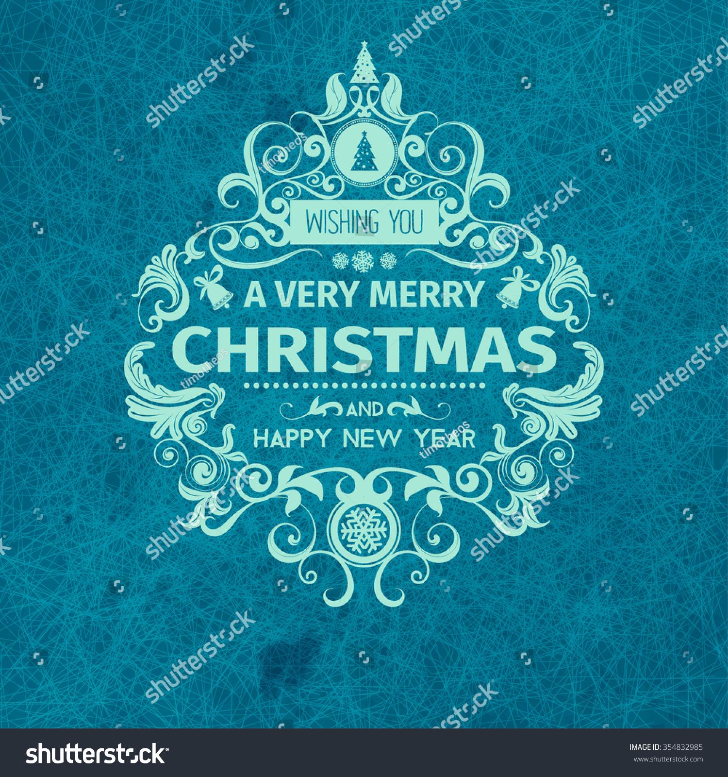 Vintage Retro Grange Trendy Merry Christmas Stock Vector 354832985