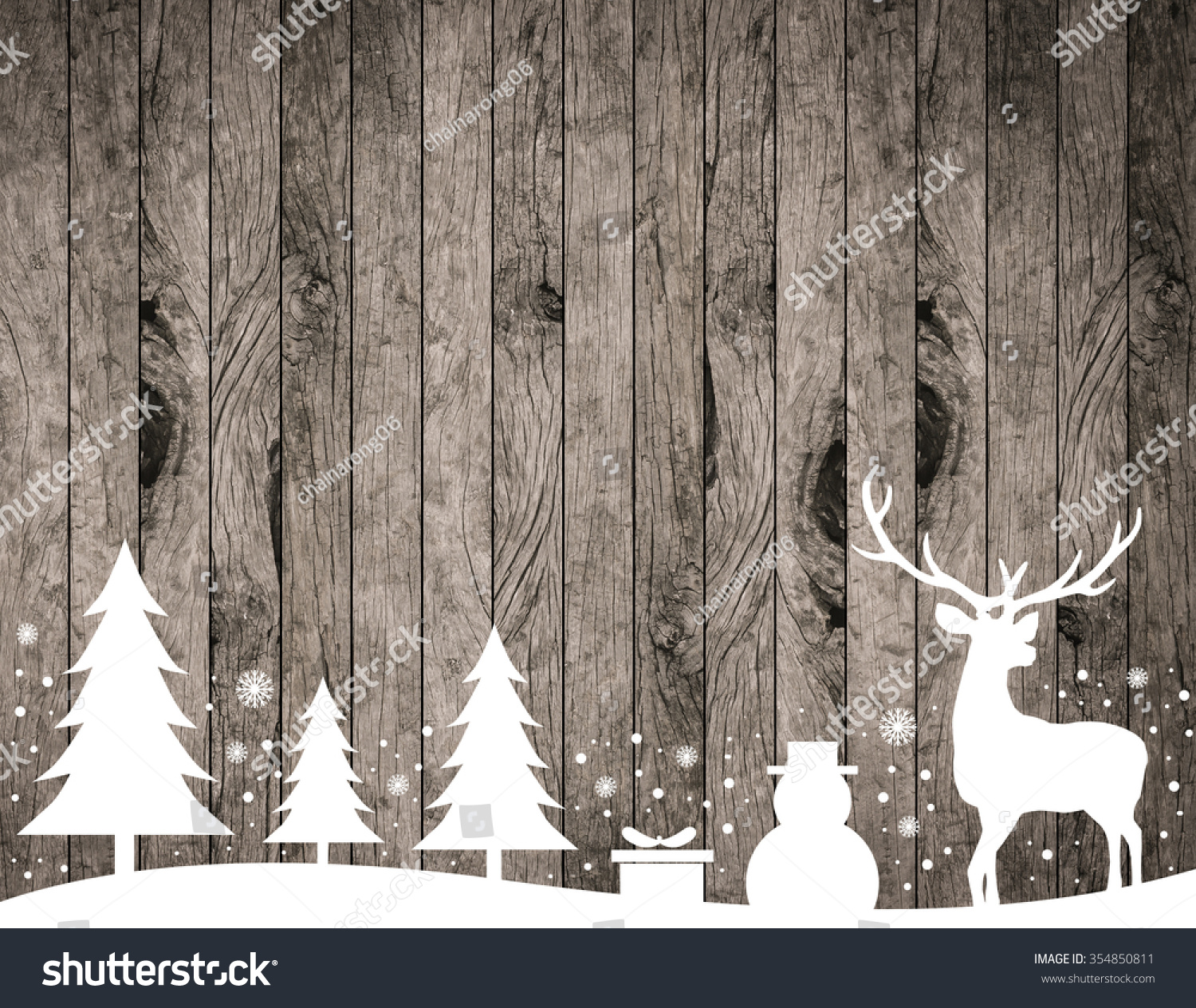 Silhouette White Reindeertreesnowmansnowflakegift On Rustic Wood Stripe Panels Vertical Background For Decorate Merry Christmas Festive And New Year