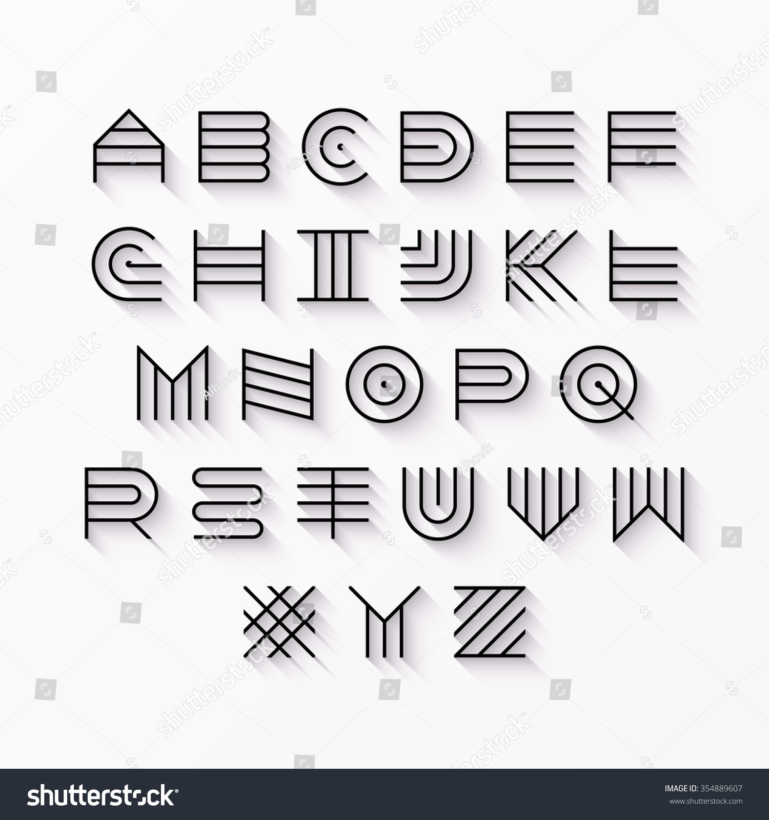 Thin Line Style Linear Uppercase Modern Stock Vector 354889607 ...
