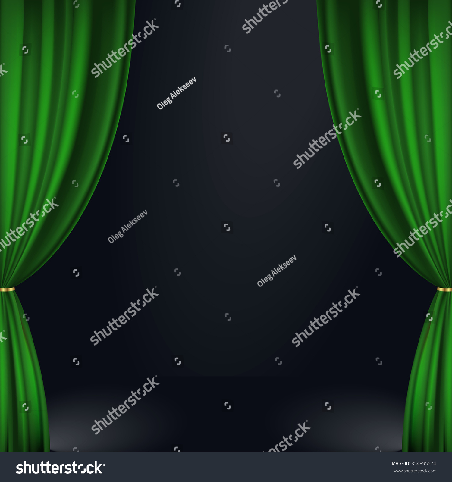 Green stage curtains - Vector Illustration Of A Green Stage Curtain
