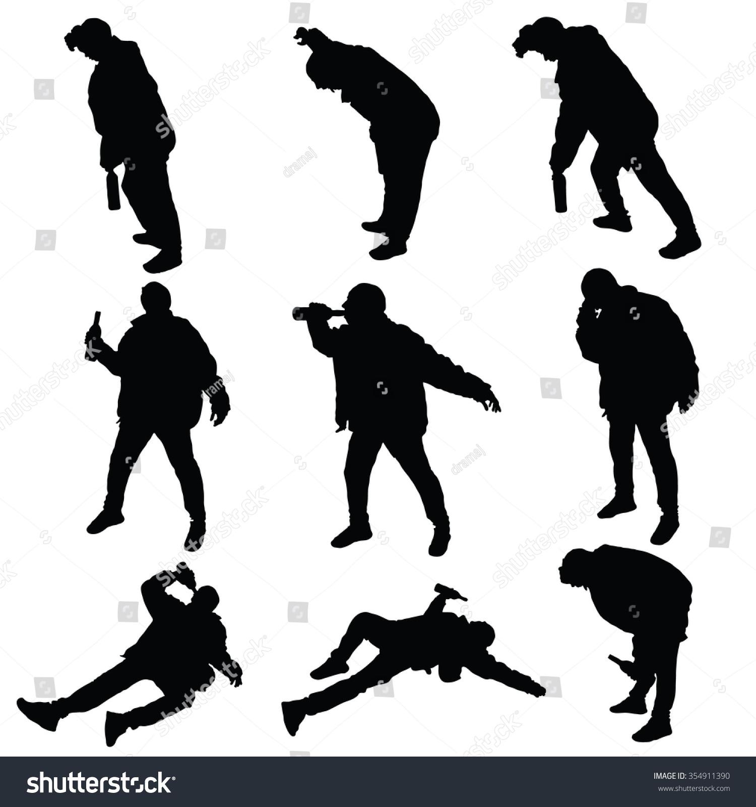 drunk man vector silhouette illustration stock vector 354911390