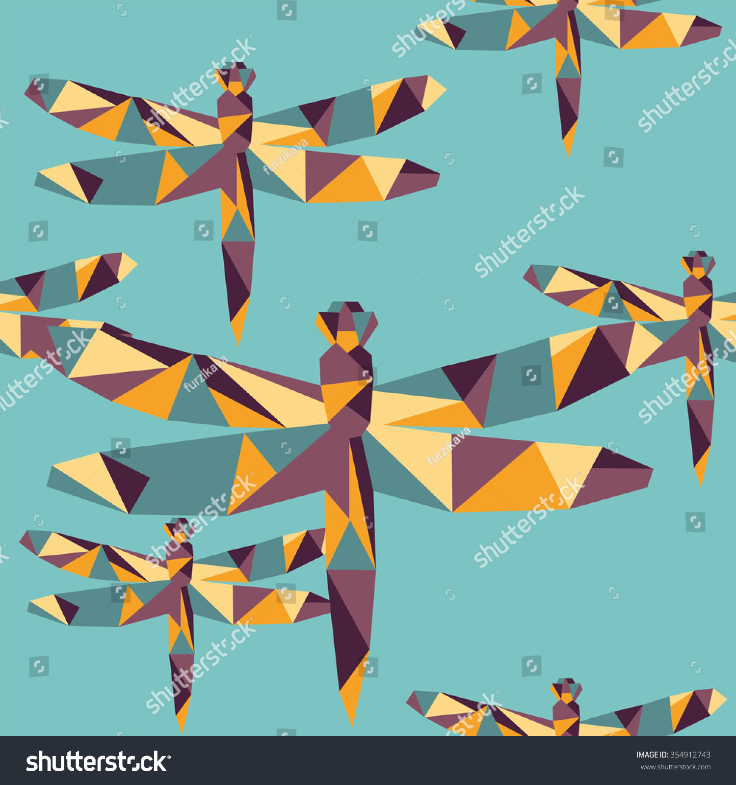 Polygon colorful geometric dragonfly insect seamless stock vector polygon colorful geometric dragonfly insect seamless origami vector background jeuxipadfo Image collections