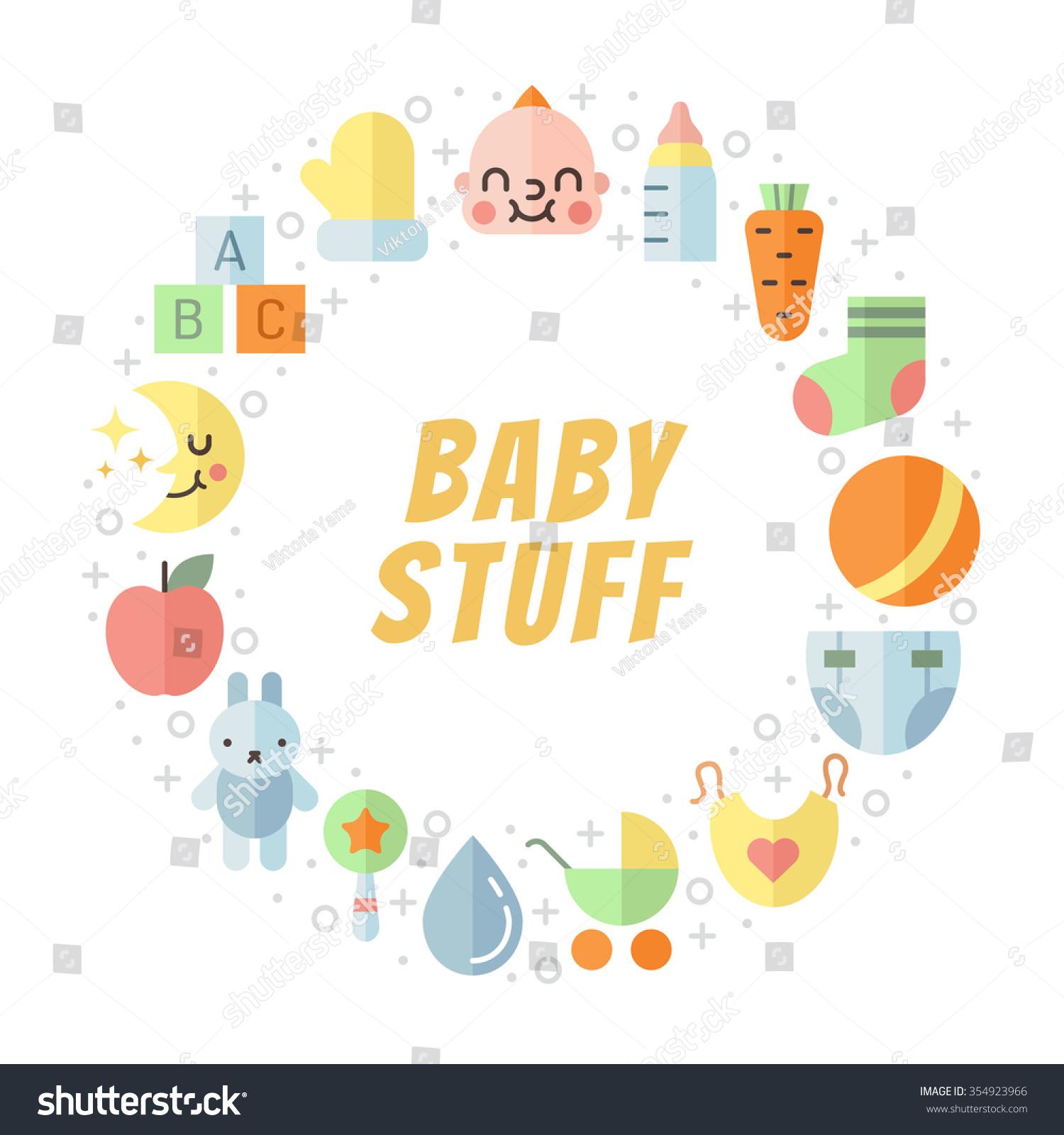 5738ca8d1e18 Baby Girl Boy Stuff Flat Multicolored Stock Vector (Royalty Free ...