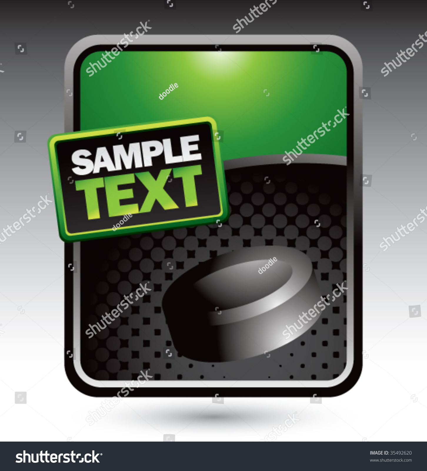 Hockey Puck On Clean Halftone Template Stock Vector (Royalty Free