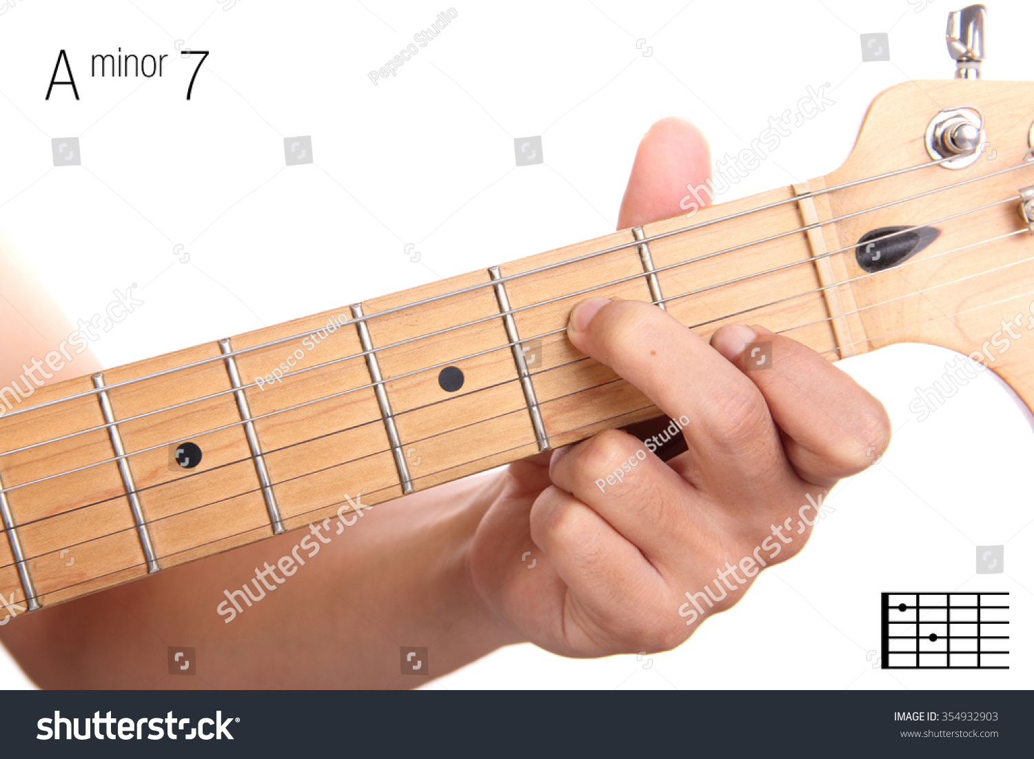 Am 7 Minor Seventh Keys Guitar Tutorial Stock Photo Edit Now