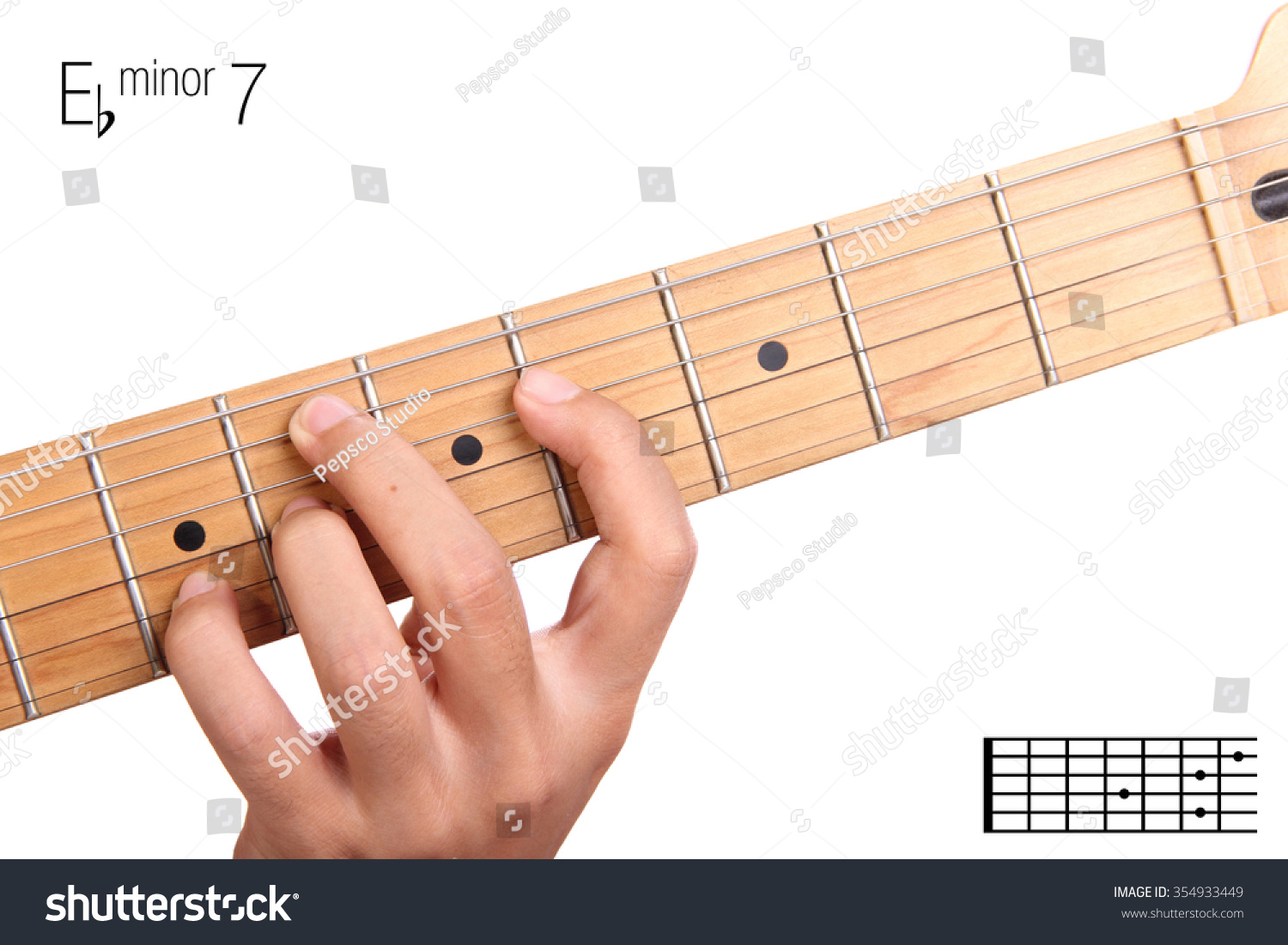 Ebm 7 Minor Seventh Keys Guitar Tutorial Stock Photo Edit Now