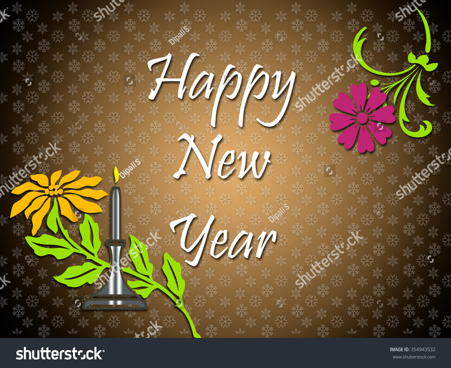 happy new year on a color background with snowflakes and flowers