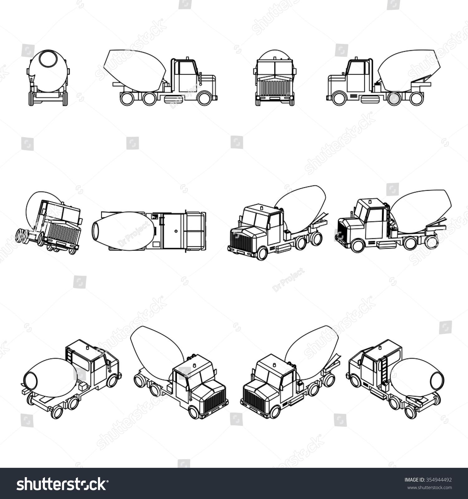 stock vector concrete mixer truck vector 354944492 concrete mixer truck vector stock vector (royalty free) 354944492