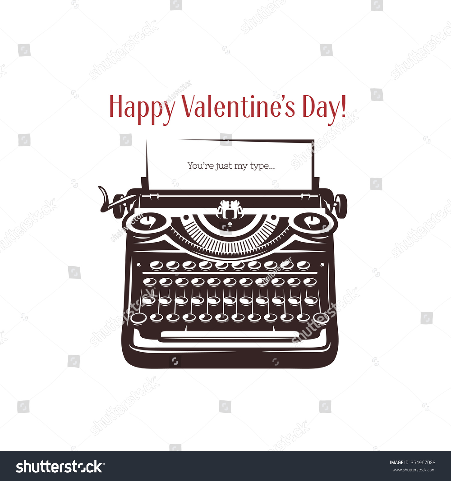 valentine day mini stic style card vintage stock vector valentine day mini stic style card vintage typewriter text on paper you are just