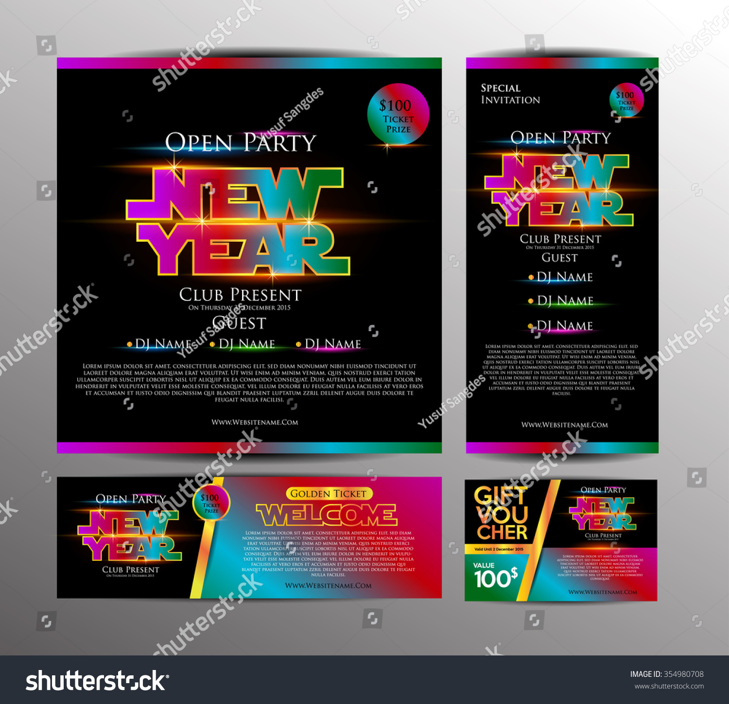 New Year Party Invitation Card Golden Stock Vector 354980708 ...