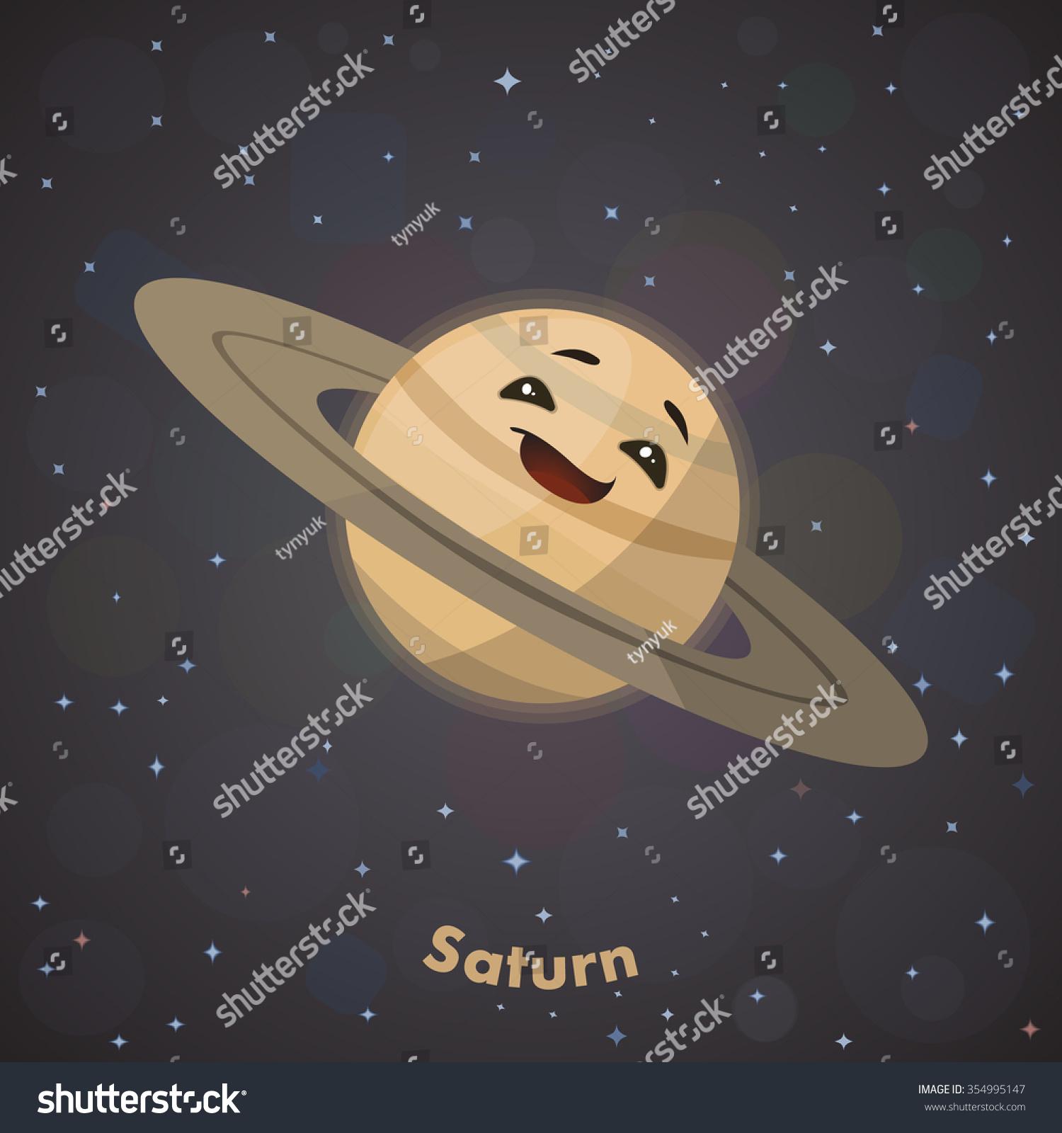 Cute Planet Saturn Stock Vector Illustration 354995147 ...