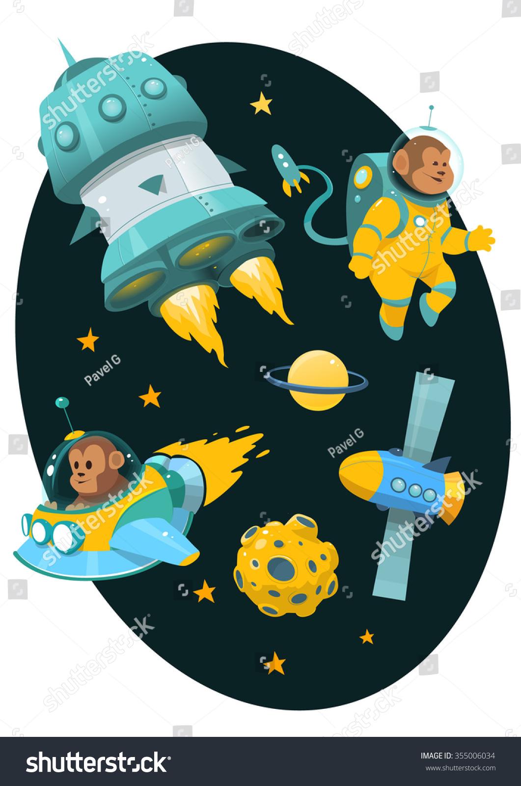 Cartoon Space Theme Rockets Astronauts Monkey Stock Vector ...