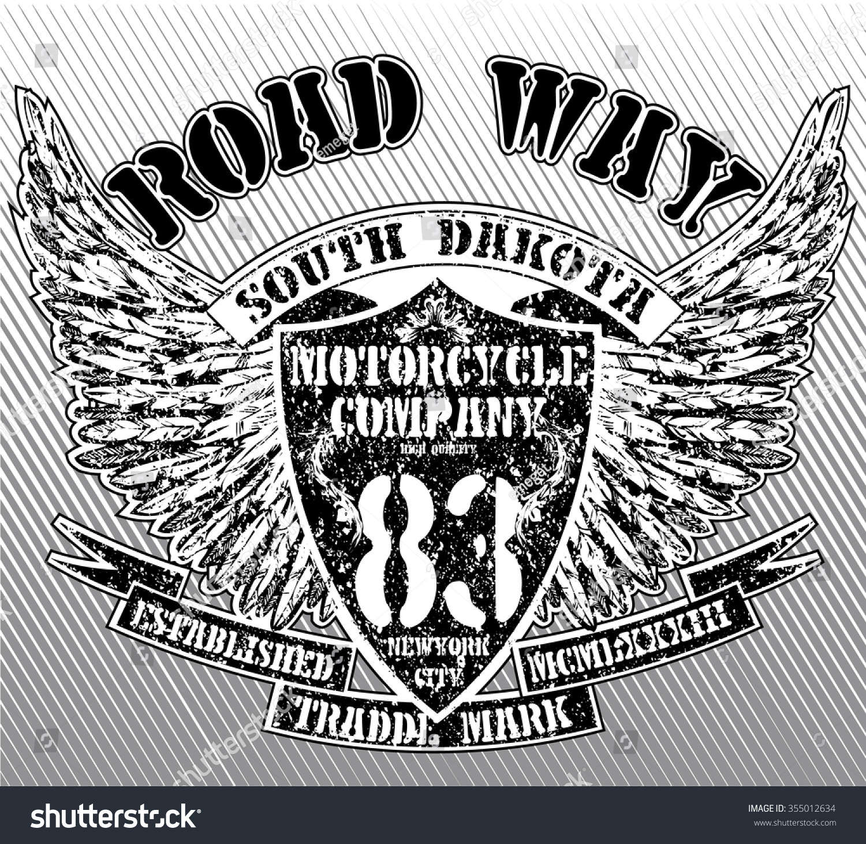Vintage motorbike race hand drawing t shirt printing stock for Marathon t shirt printing
