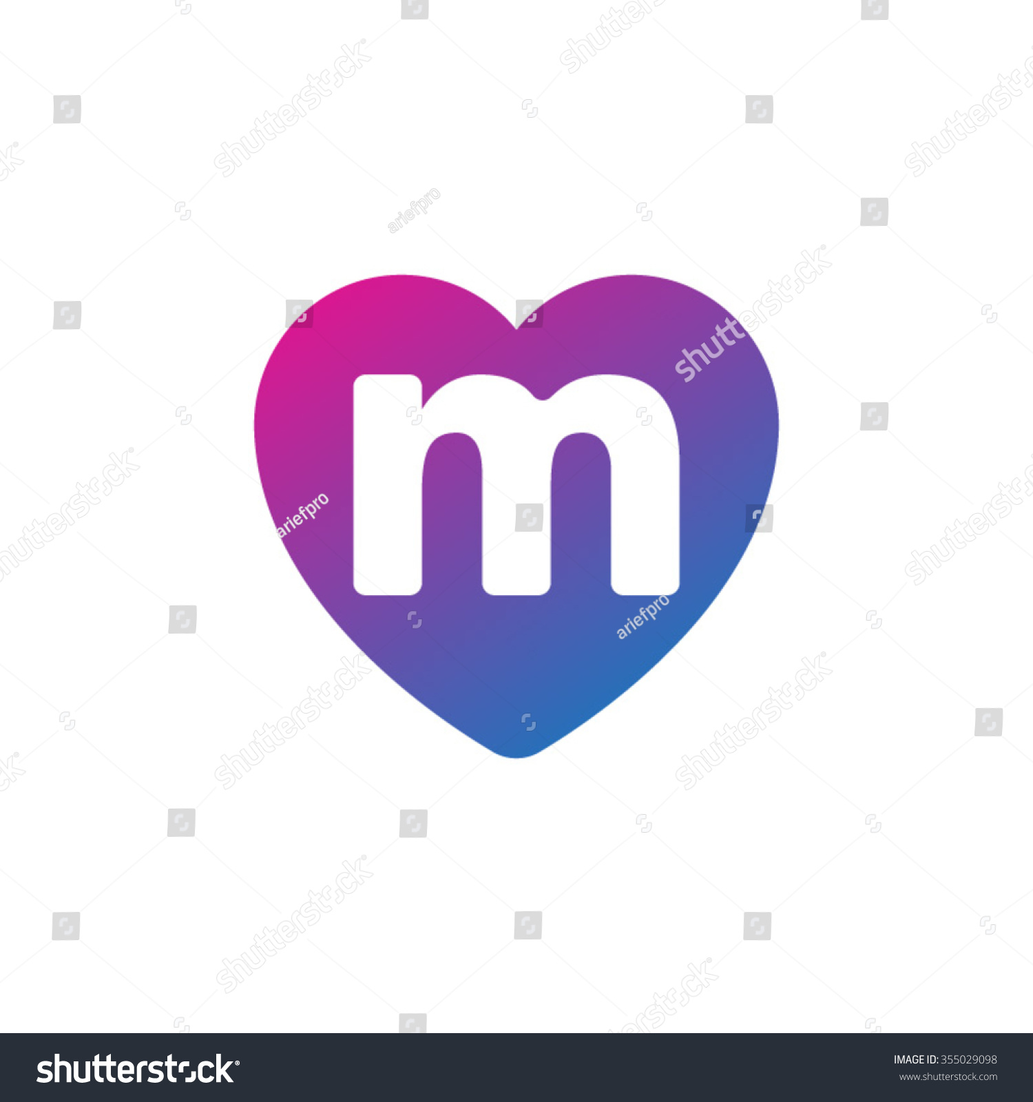 Letter M Heart Shape Icon Logo Stock Vector Royalty Free 355029098