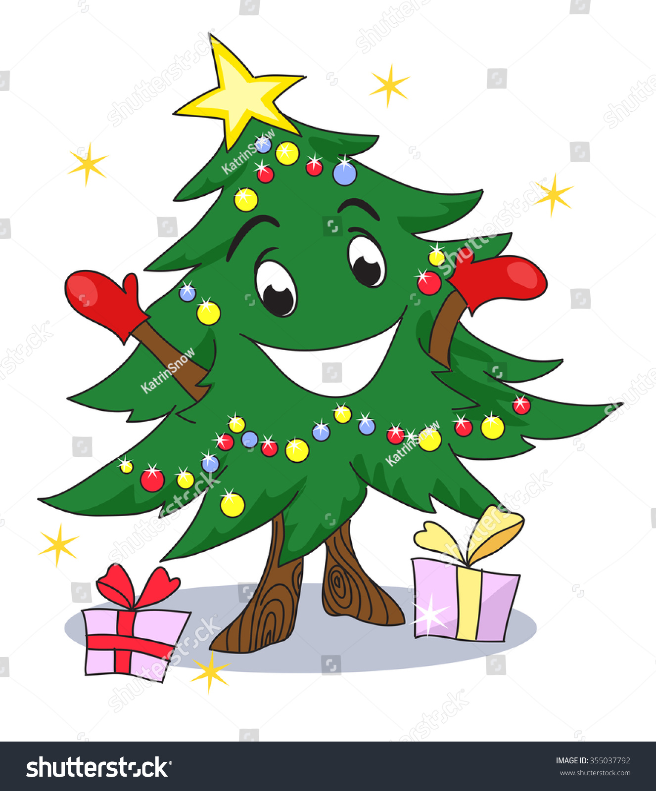 christmas tree character funny animated christmas tree gives you gifts cute christmas character - Animated Christmas Tree