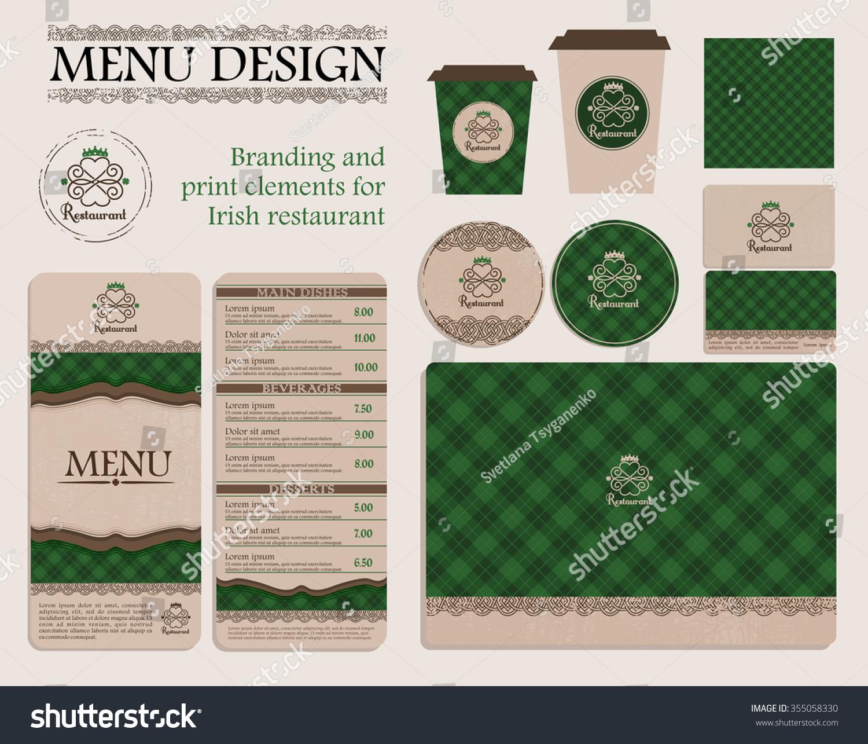 Branding print elements irish restaurant cafe stock vector