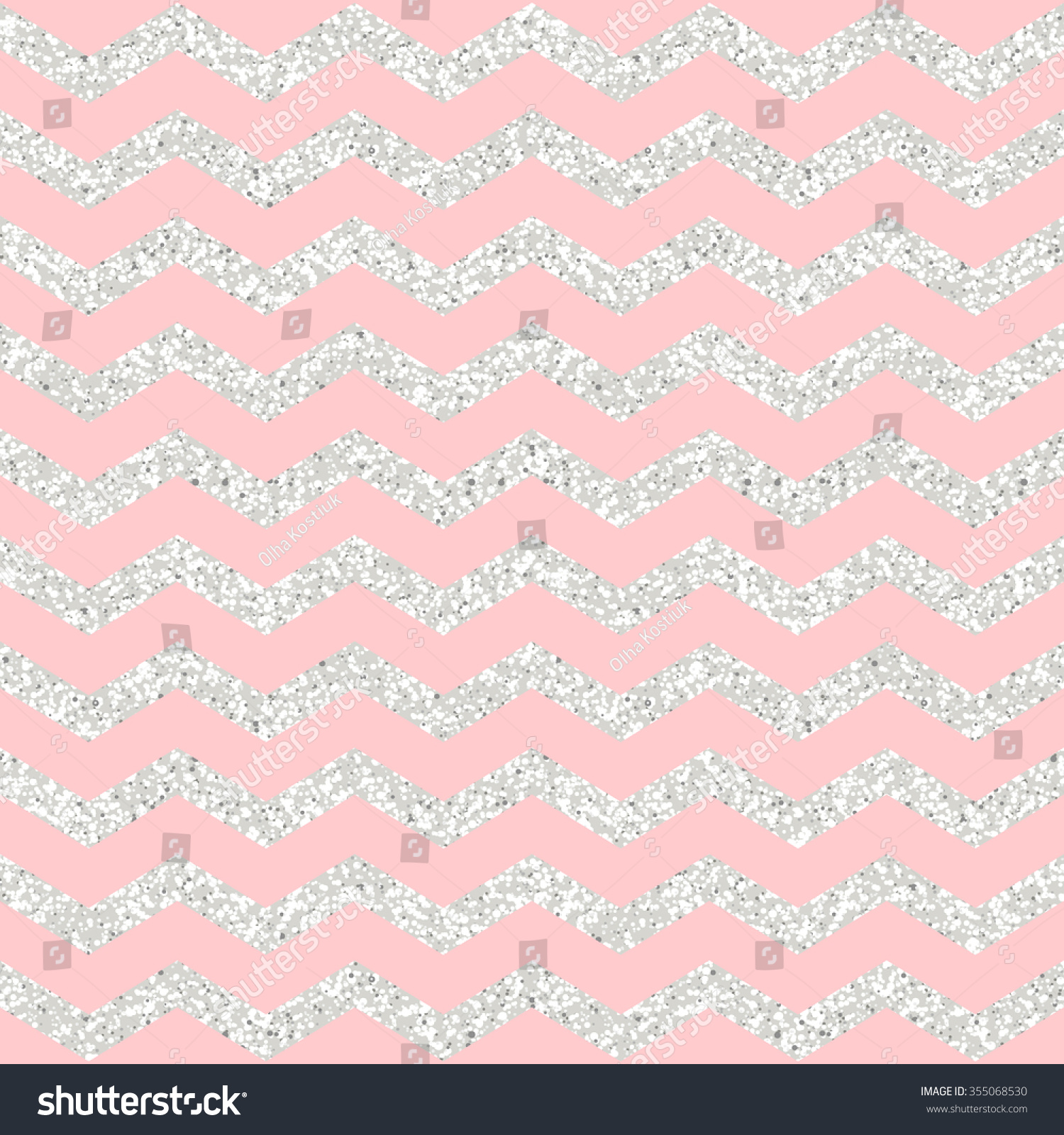 Rose Quartz Shining Silver Glitter Chevron Stock Vector ...