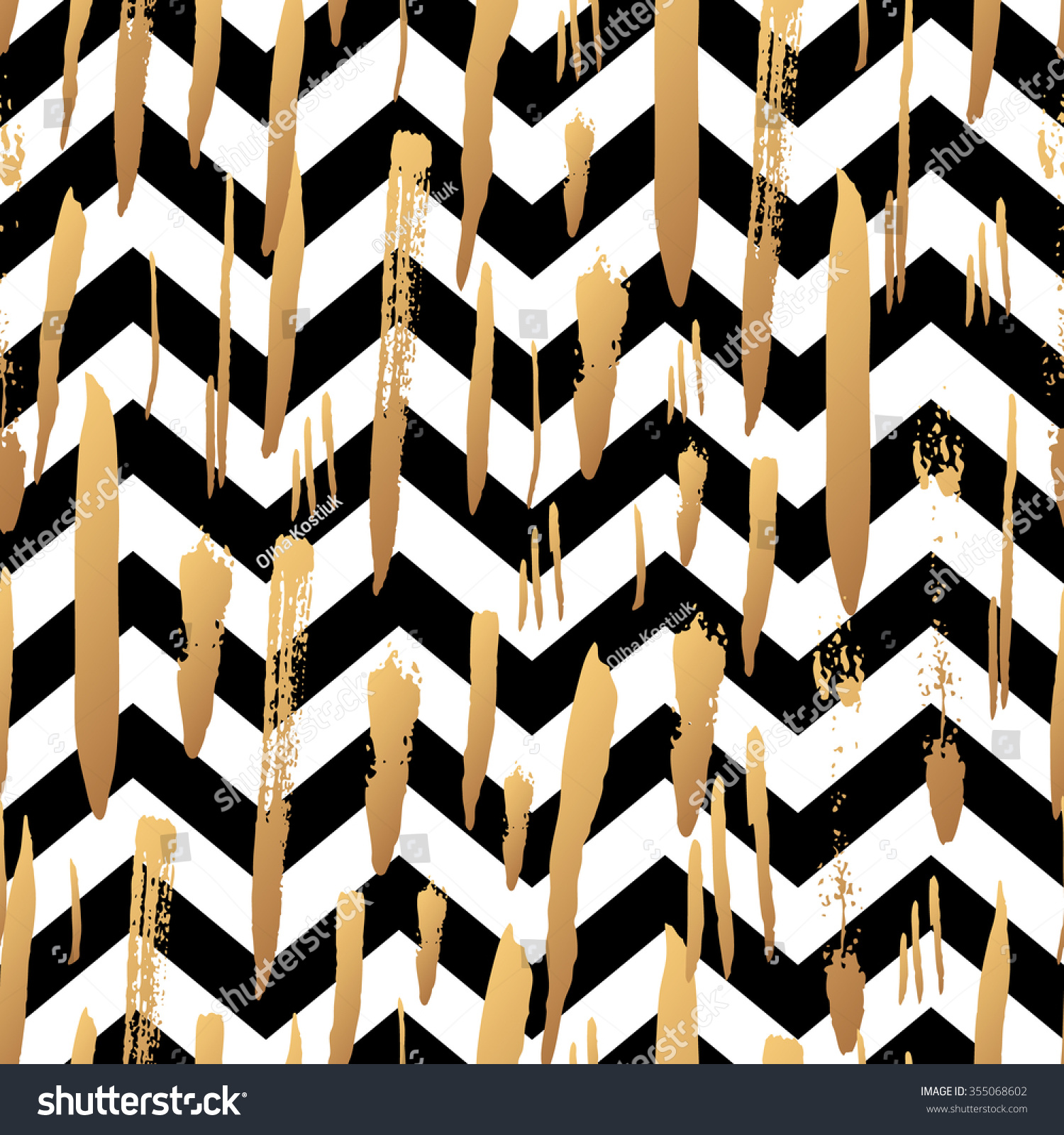 And black diagonal stripes background seamless background or wallpaper - Striped Background With Gold Brush Strokes And Black And White Stripes Chevrons Hand Drawn Ink