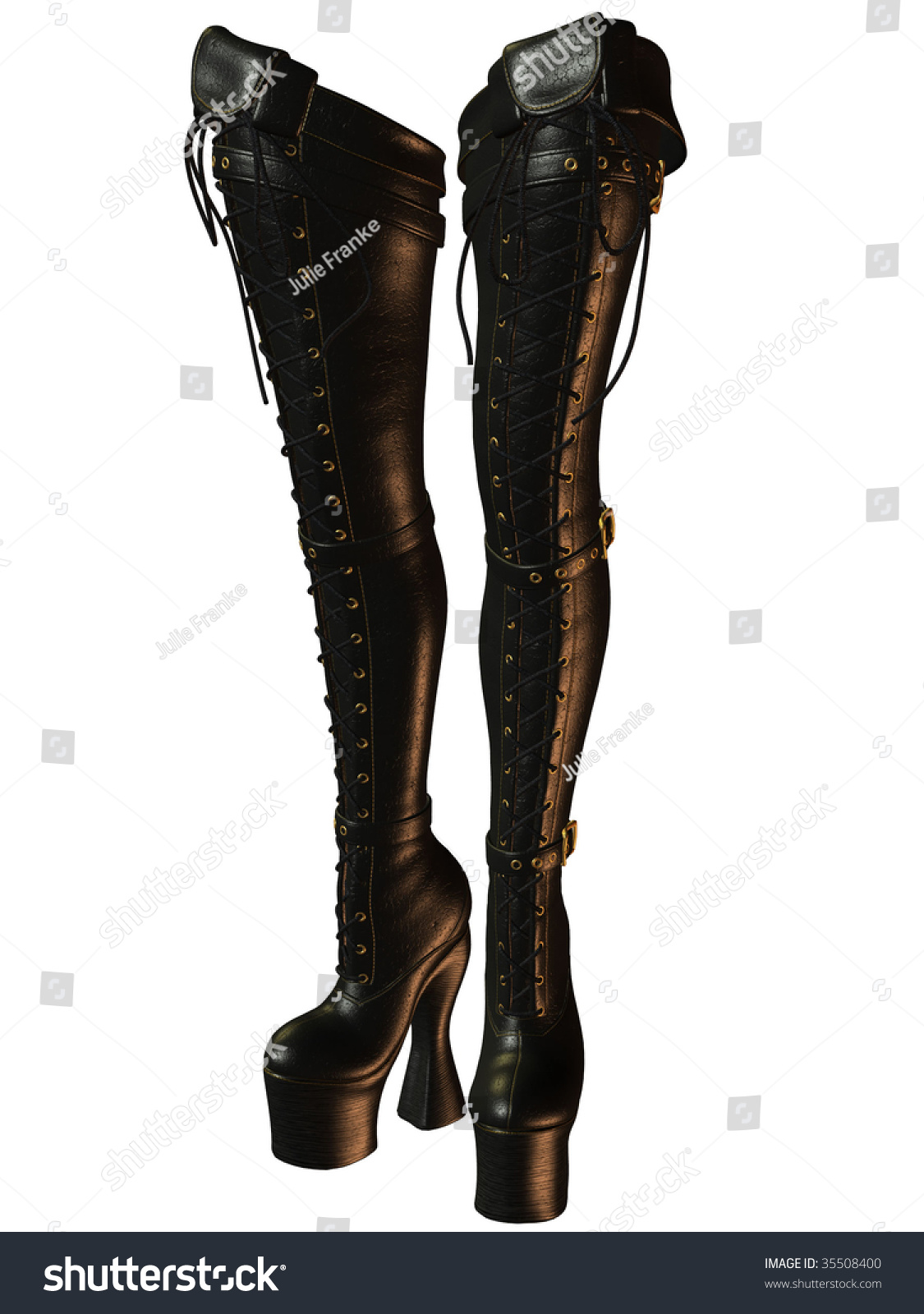 Kinky Sexy Thighhigh Laceup Black Leather Stock Illustration ...
