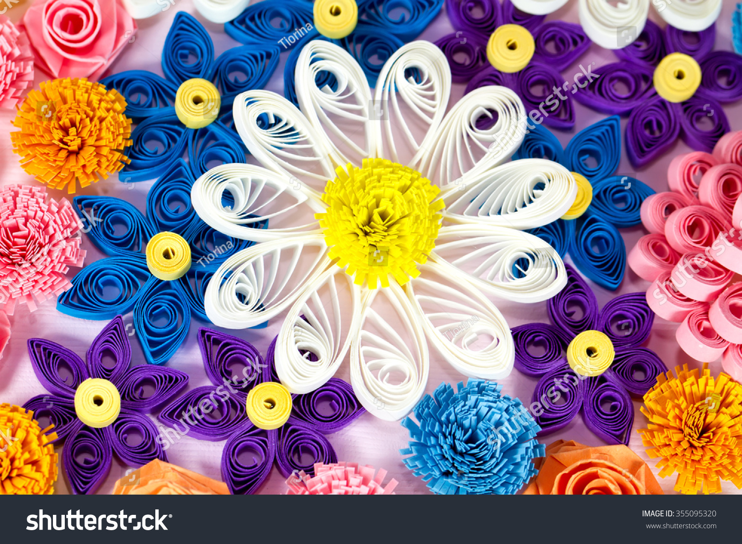 Colorful Paper Quilling Flowers Macro Stock Photo Image Royalty