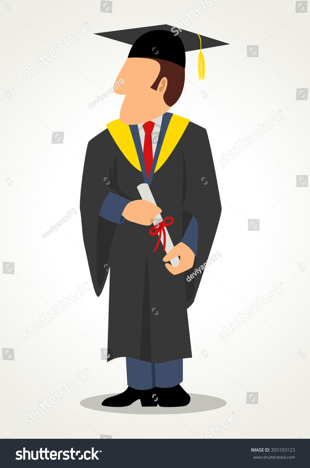 Simple Cartoon Male Graduation Gown Toga Stock Illustration ...