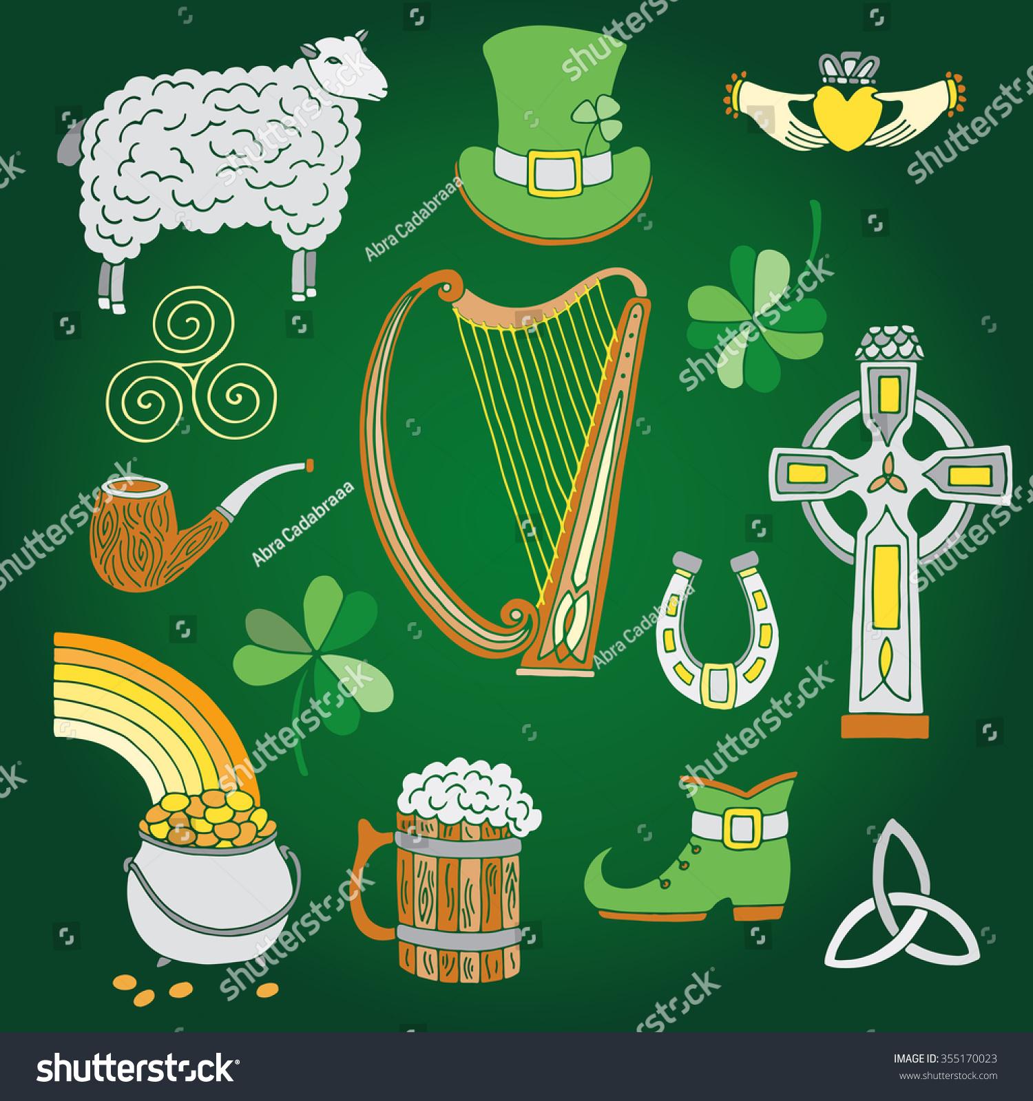 Ireland Symbols Set Saint Patricks Day Stock Vector