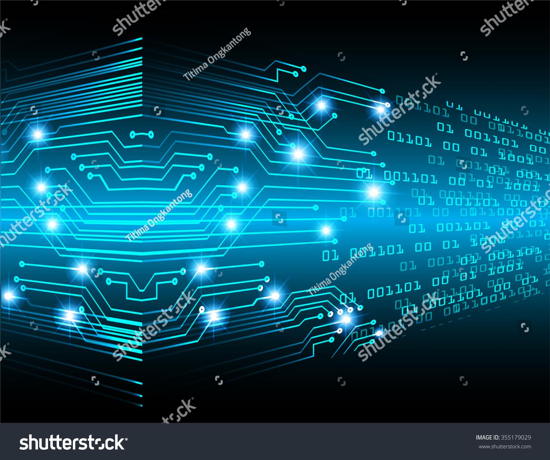 Blue Technology: Dark Blue Color Light Abstract Technology Stock Vector